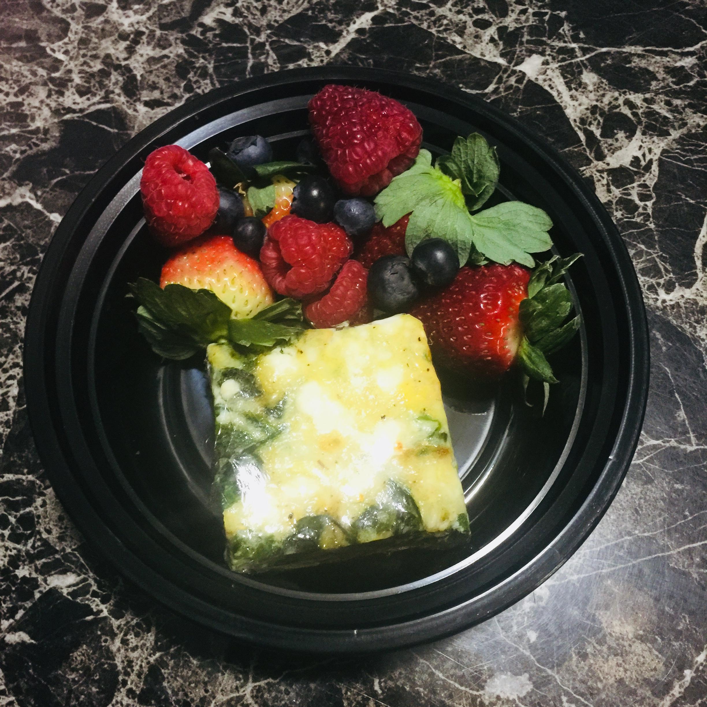 Spinach, Onion, & Feta Egg Bake