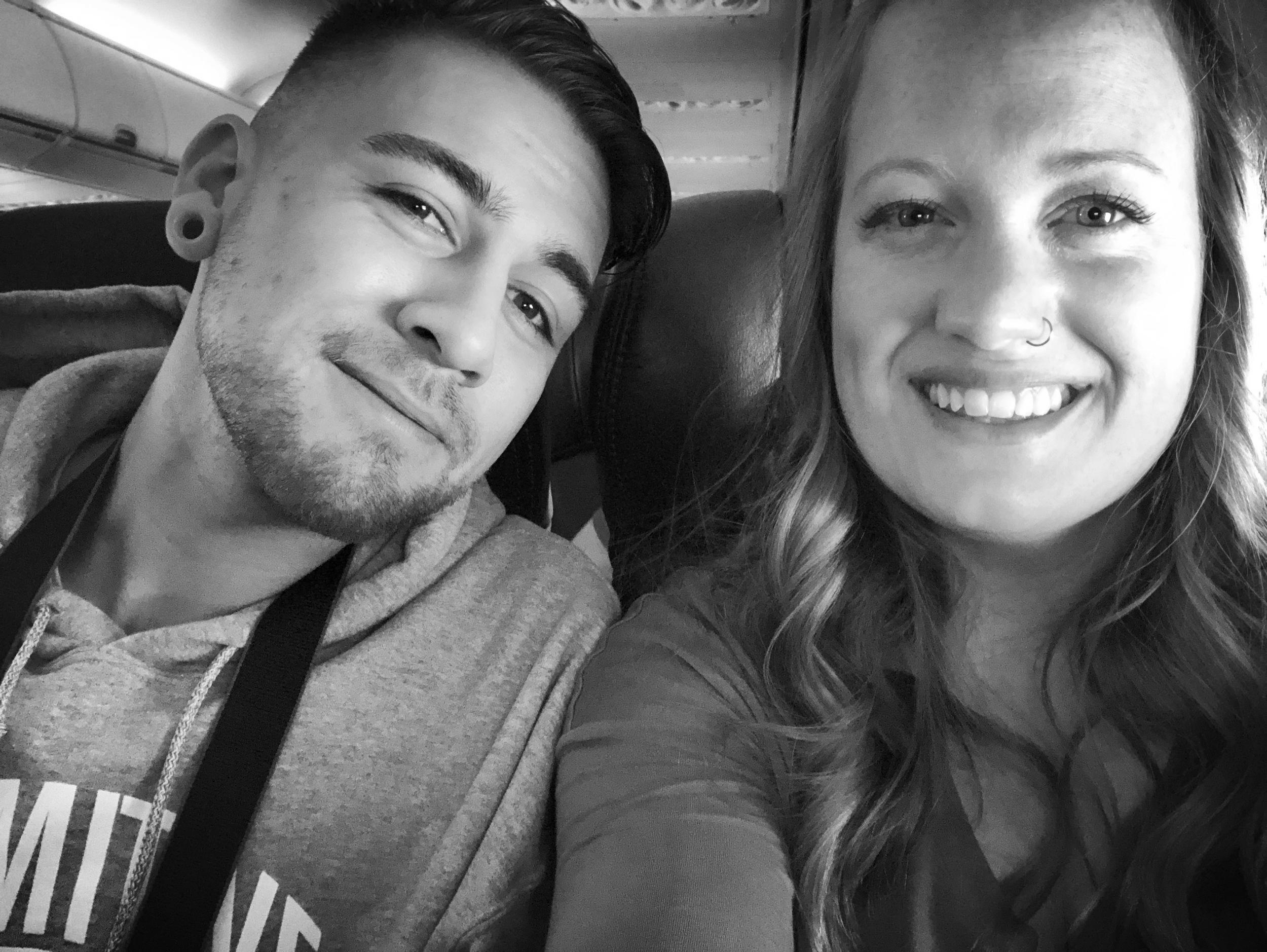 Conrad and I, mid-flight
