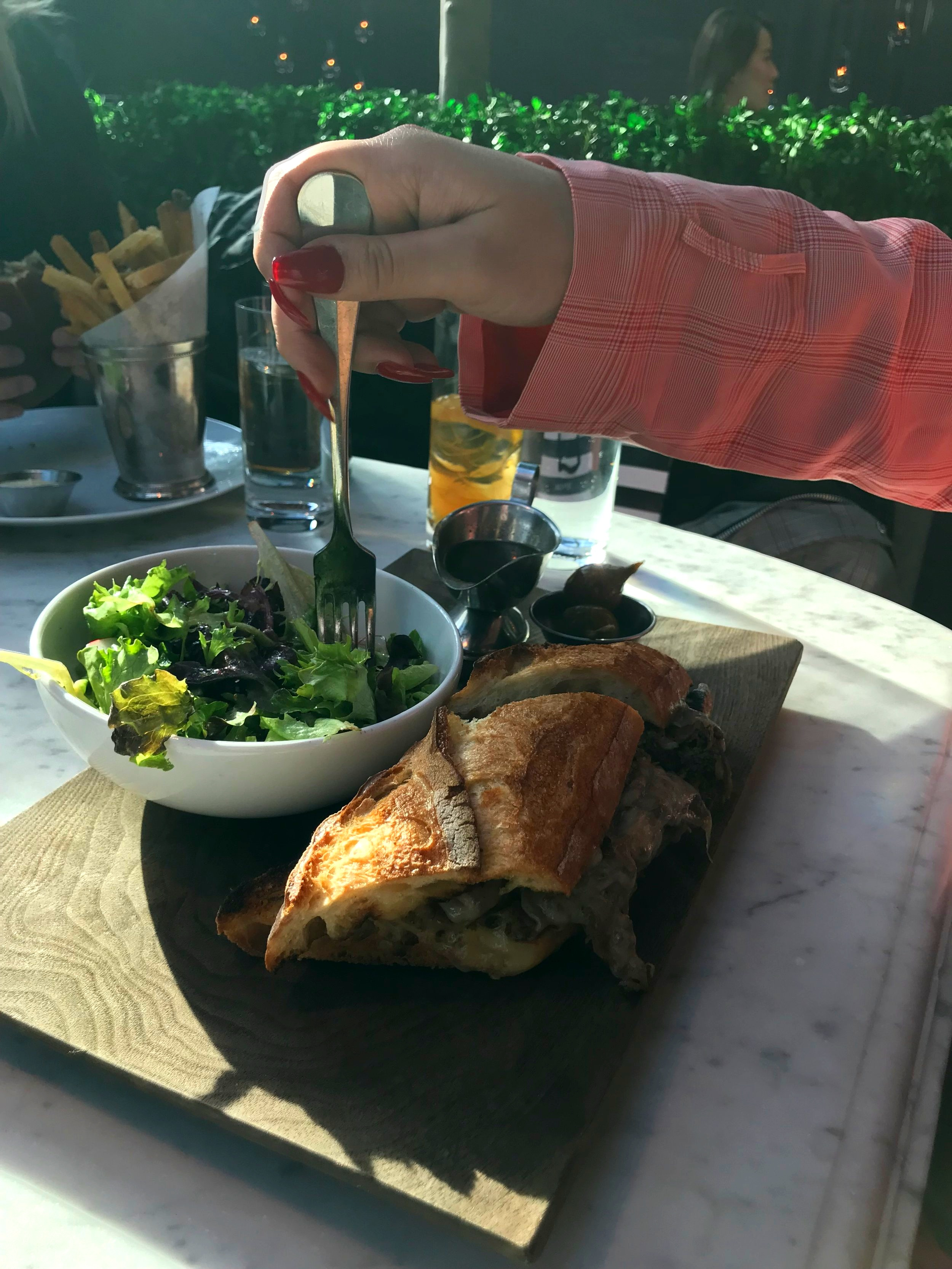 Shaved Ribeye Sandwich at RH Rooftop Restaurant