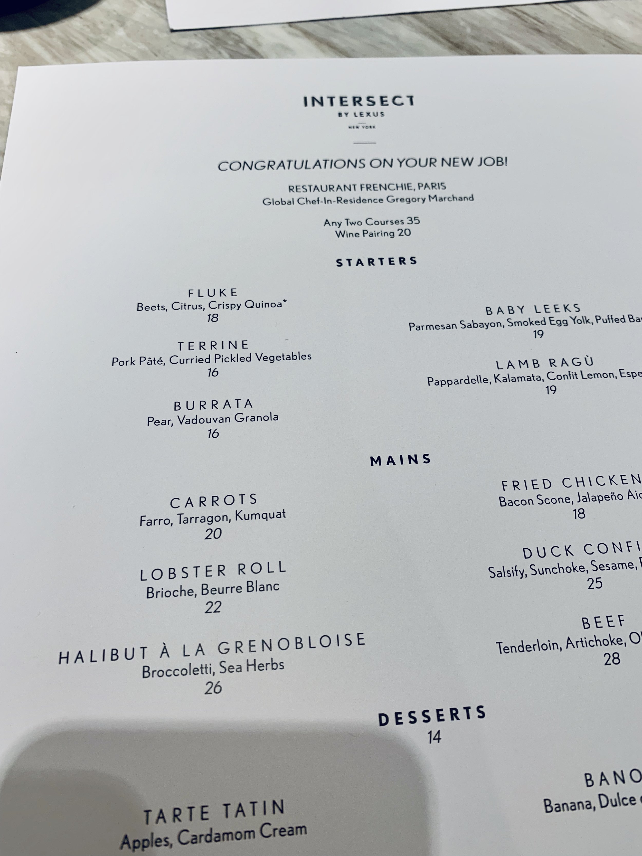 Intersect by Lexus lunch menu