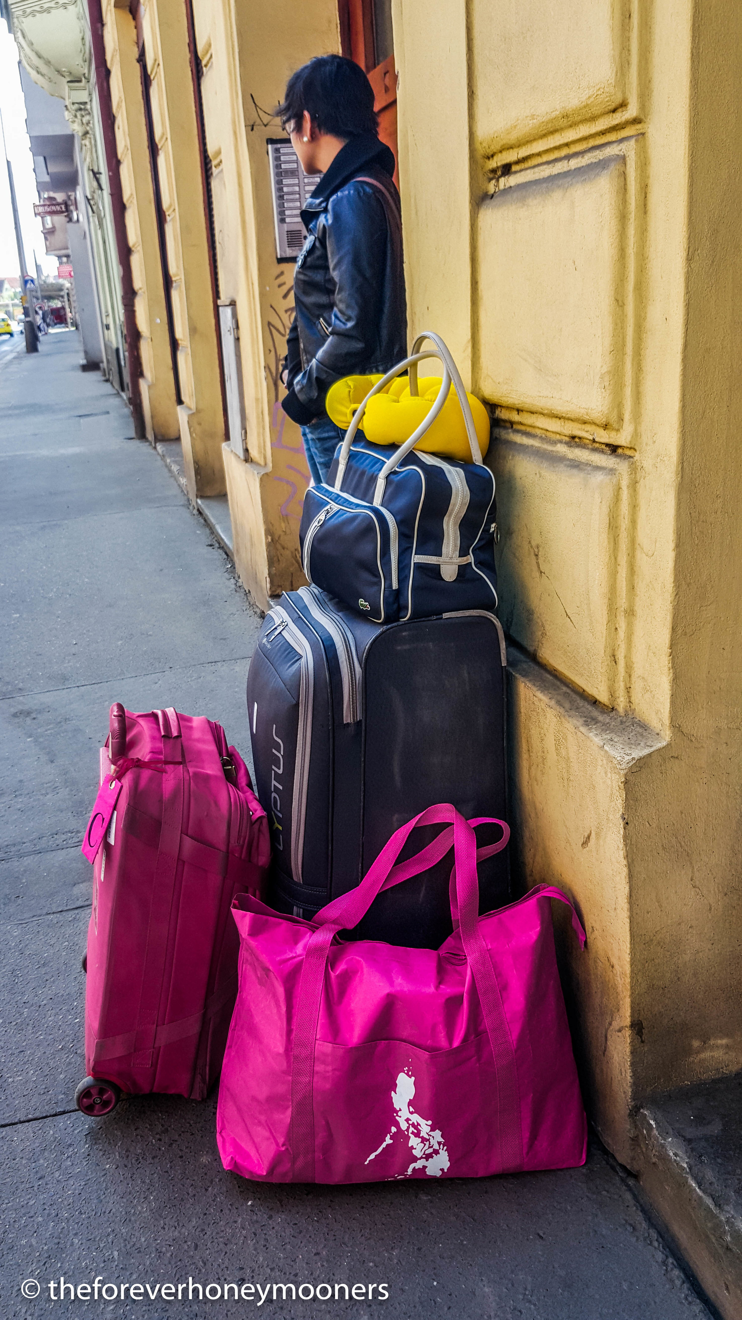 Packed and ready for the next leg.  That pink bag with the Philippine flags means we are nearing the end of our trip :)
