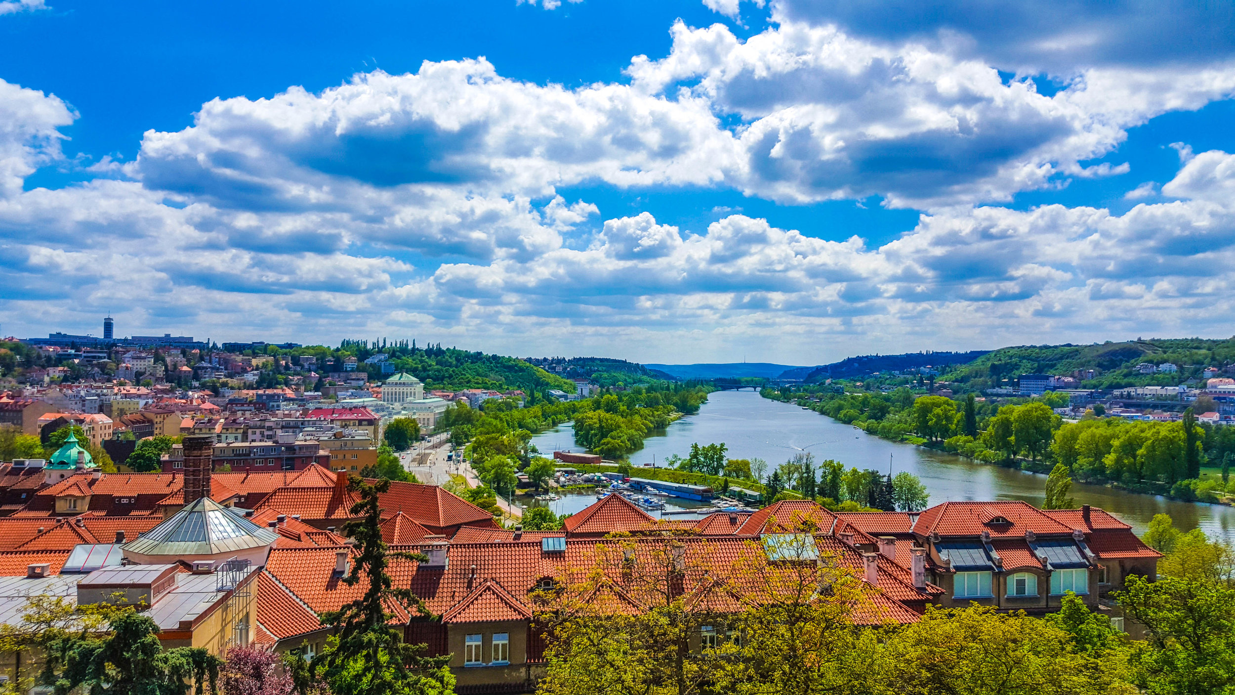 The view of Vltava River from Vyšehrad