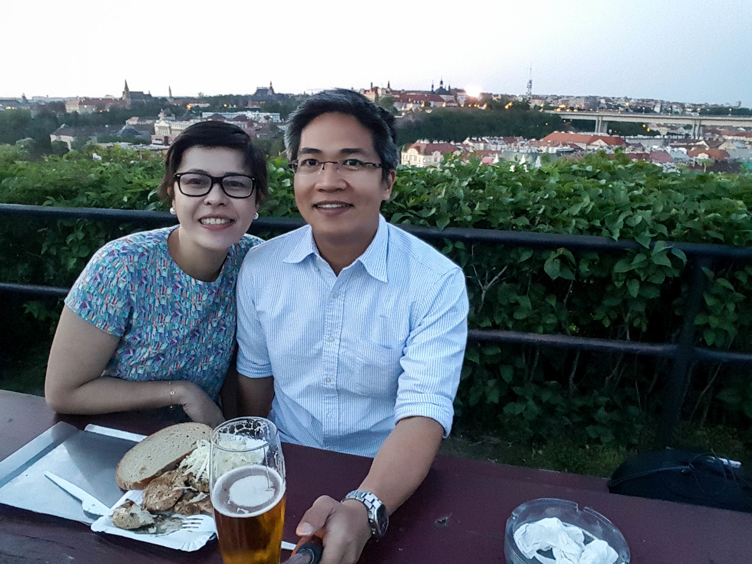 Capping the Prague visit with a night in the beer garden overlooking the city. The grilled mushrooms are to die for! :)