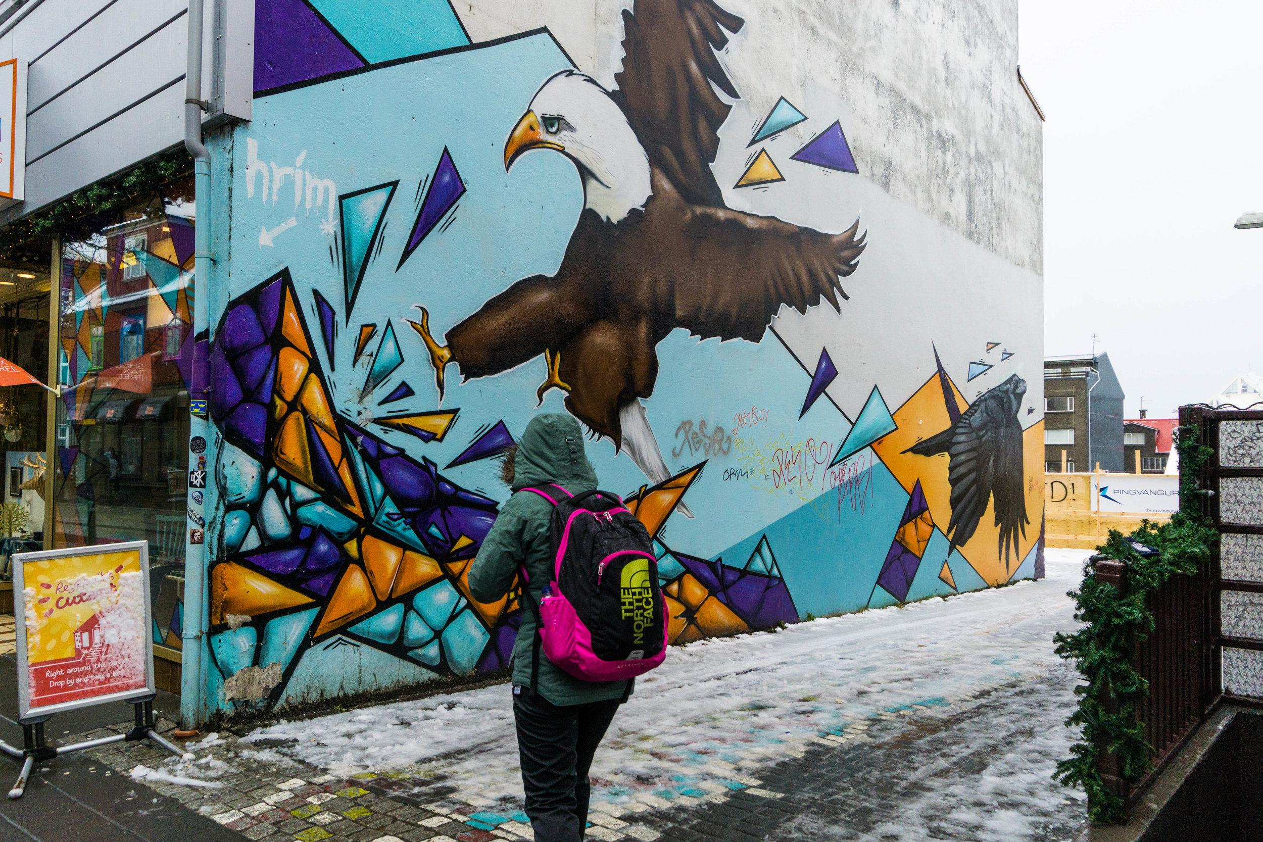 Street art in downtown Reykjavík.