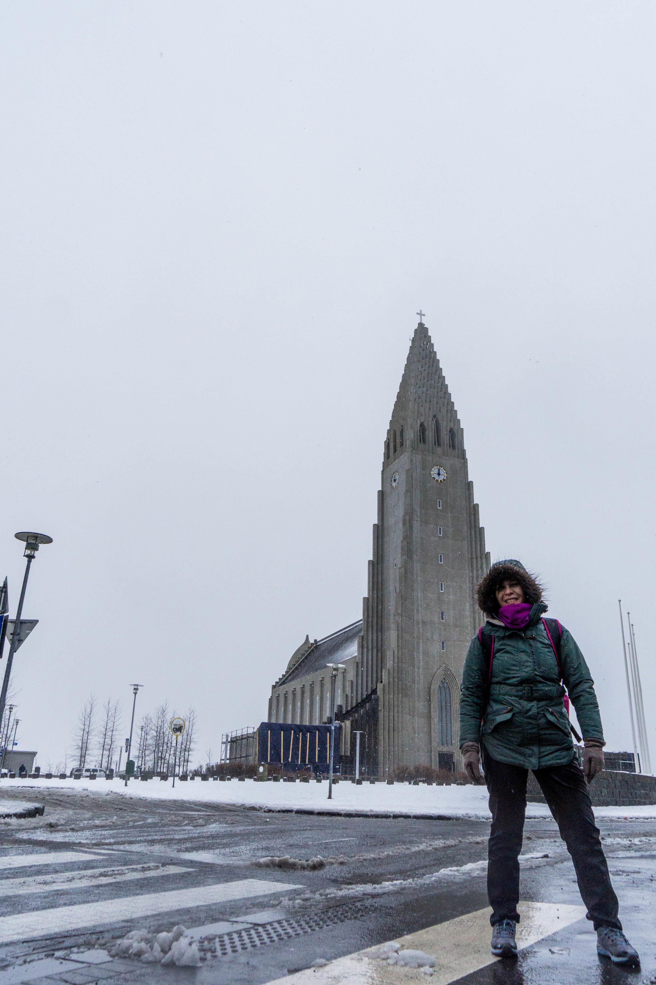 Braving the storm to visit Hallgrímskirkja.