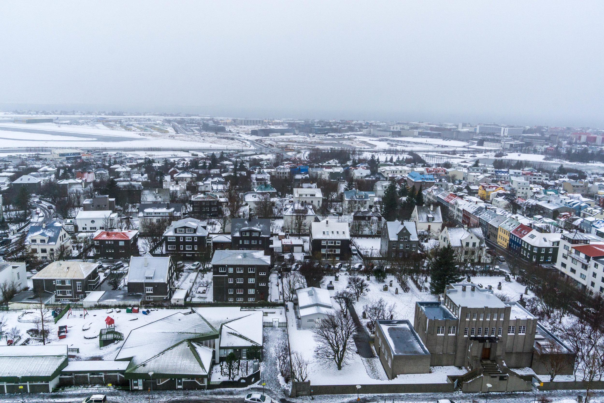 Feels like Christmas again. Top view of downtown Reykjavík.