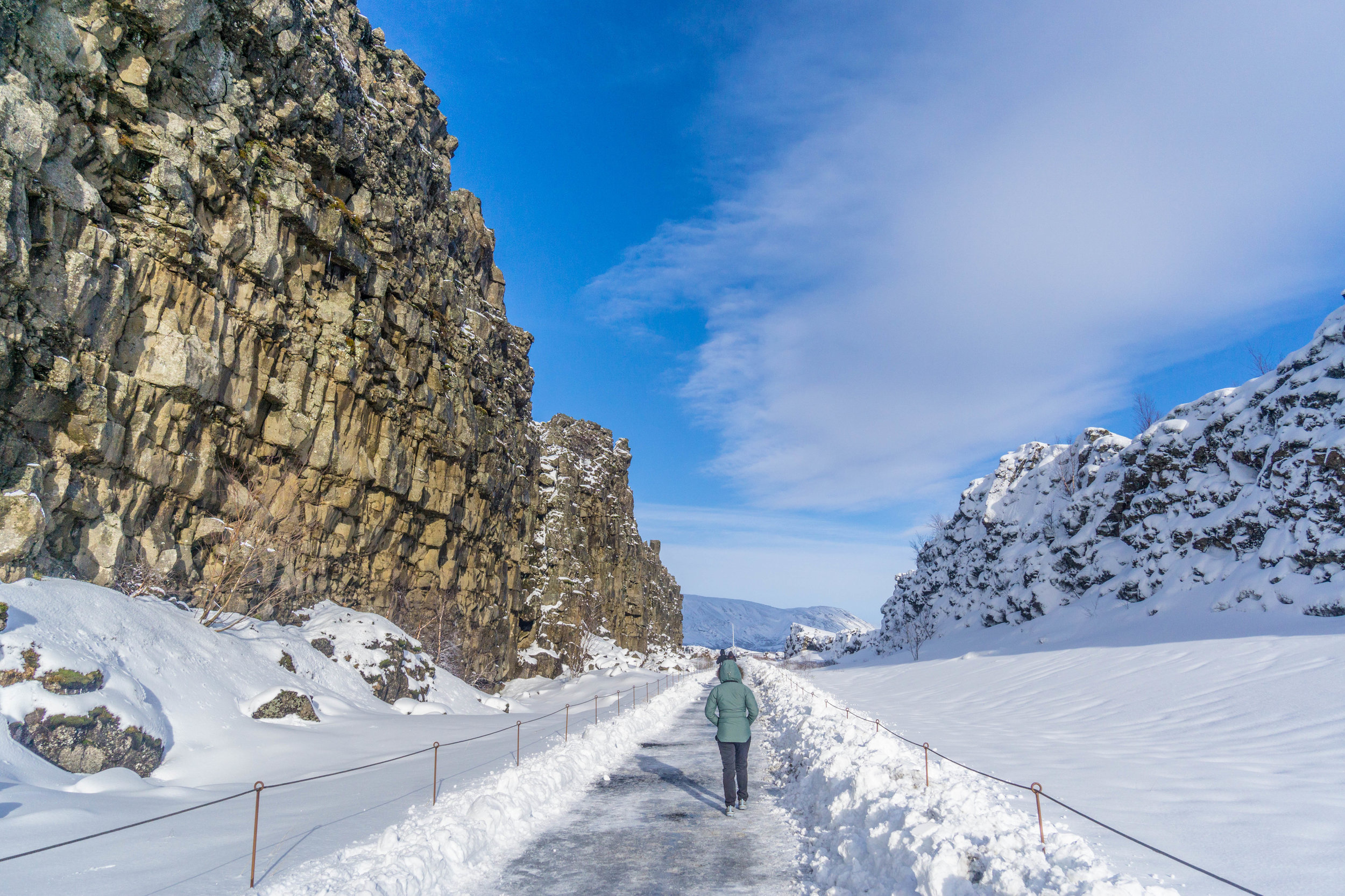 Two places at once in Thingvellir. The Eurasian tectonic plate and the North American tectonic plate.