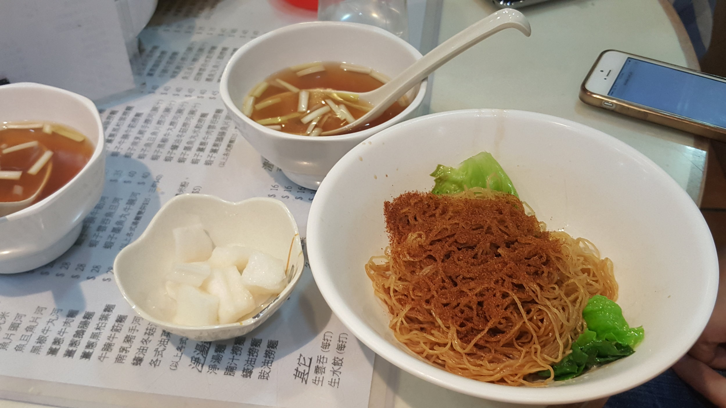 Trying out ha zi mee (dry noodles) from a popular noodle shop