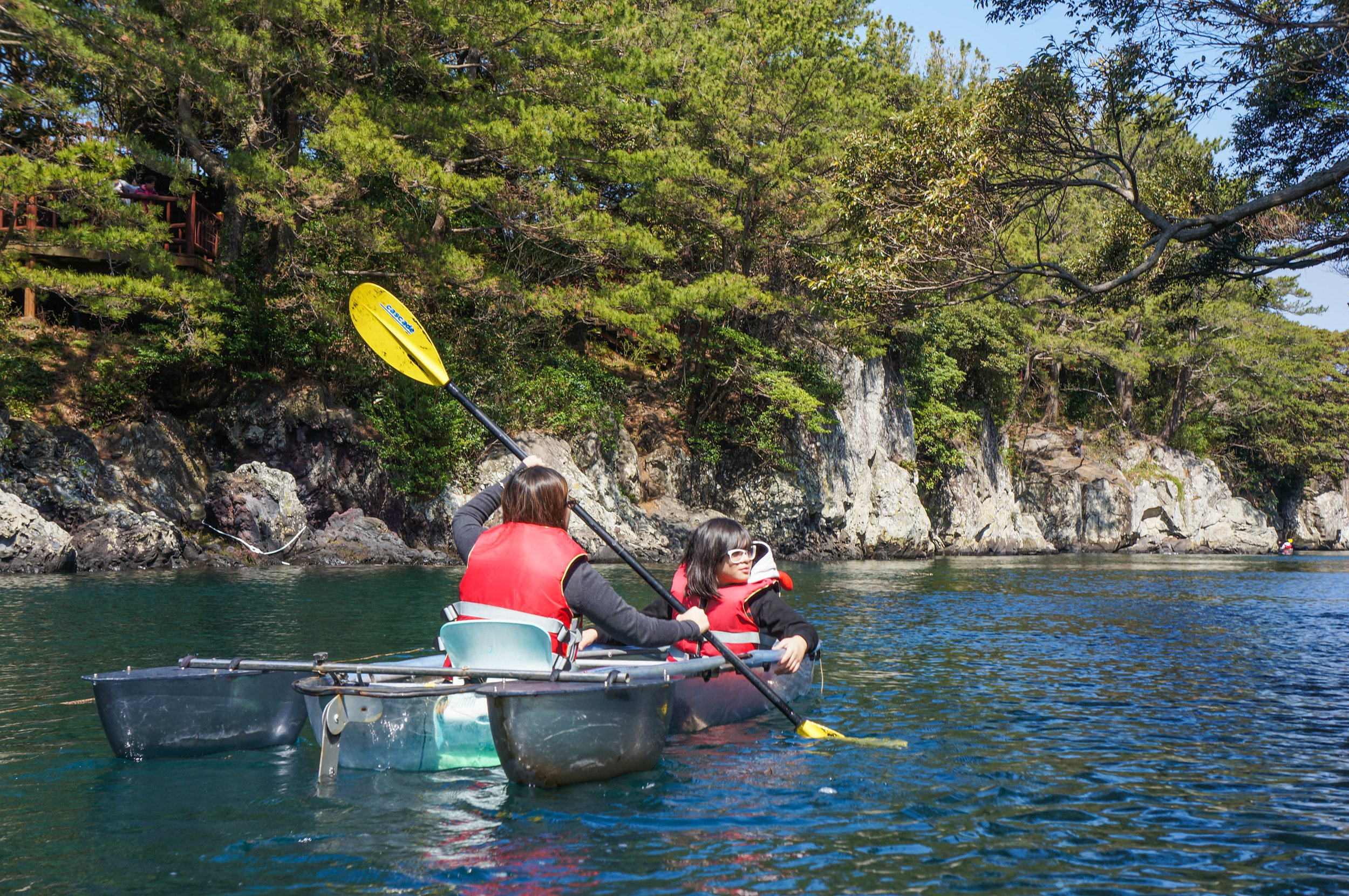 Our first time to be on a clear kayak. :) The estuary was beautiful.