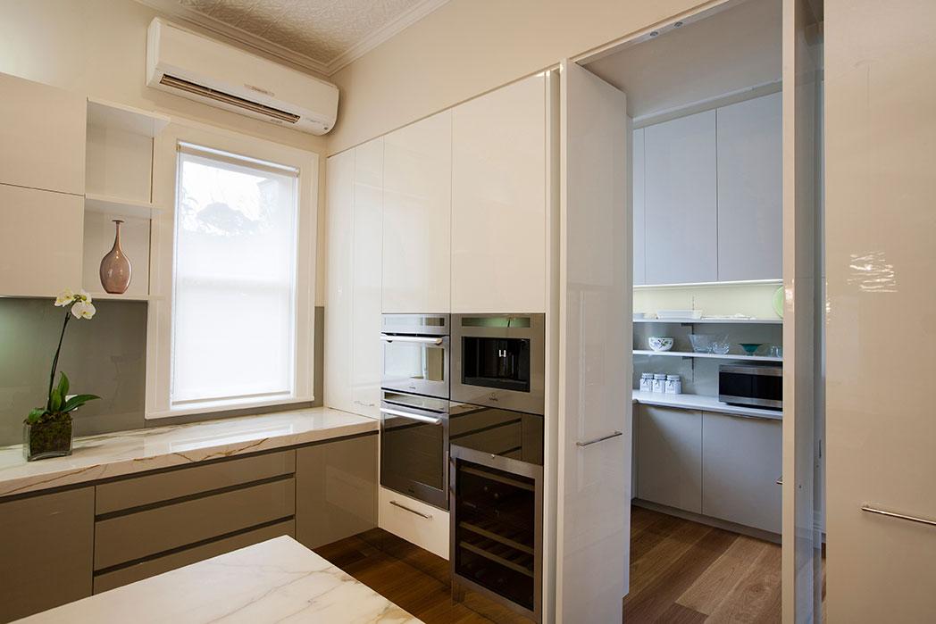 Rina Cohen Interiors, RCI Designs, Interior Design, RCI Designs Island Kitchen,View to Pantry