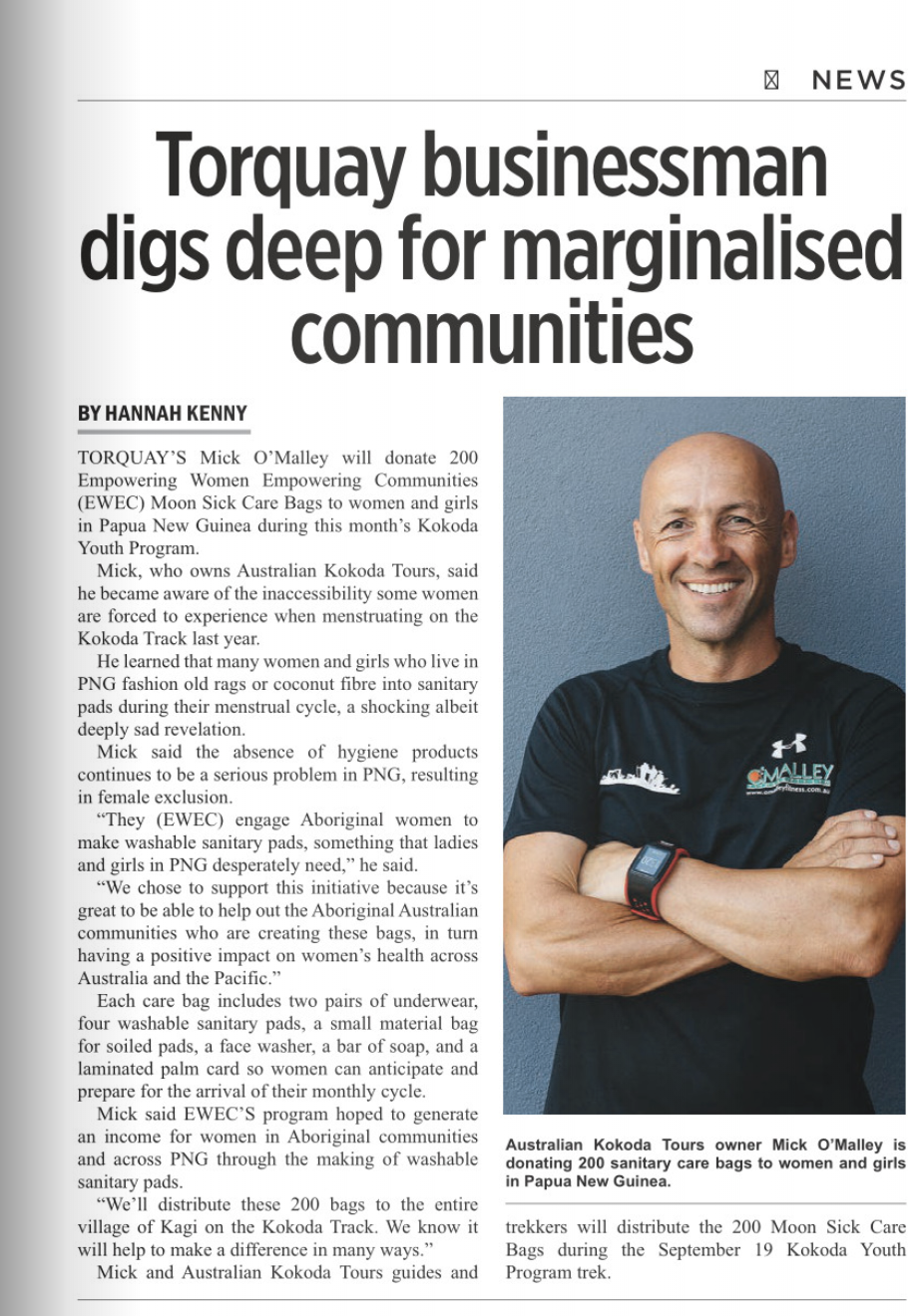 Mick O'Malley article in the Surf Coast Times, September 5th, 2019.