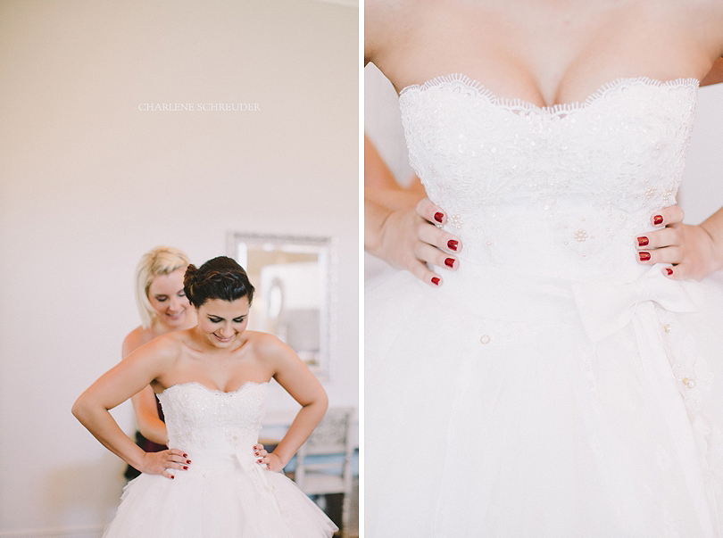 Annelize's dress had a multitude of layers, some of which were layers of fabric that we took off her mother's wedding dress. The little beads and buttons of her mother's dress were then also sewn onto Annelize's dress for added details. Photo: Charlene Schreuder.