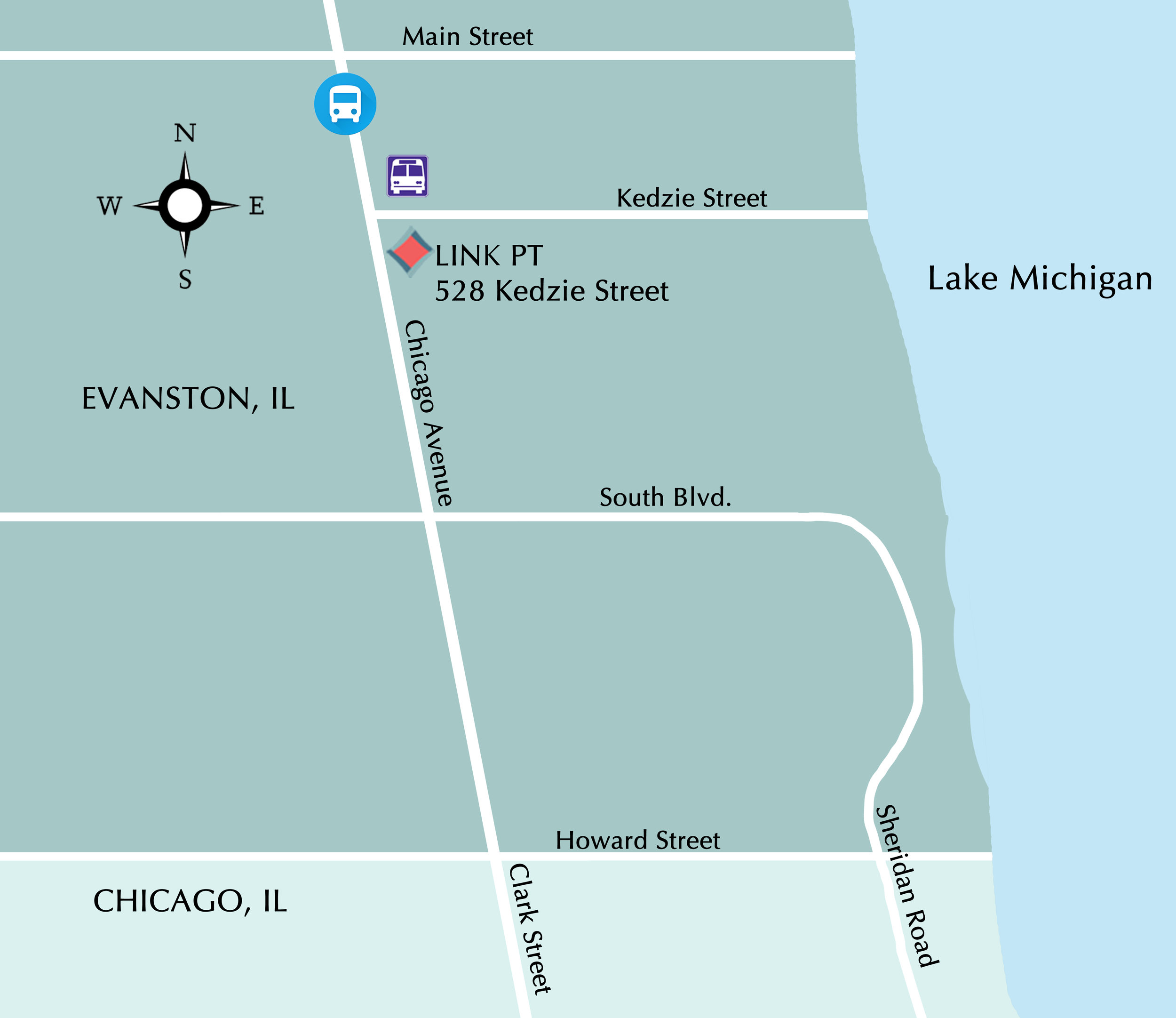 Our location - We are located in southeast Evanston, convenientlyclose to public transportation and street parking.Parking: Metered and non-metered street parking is available on Kedzie Street and the neighboring streets (Chicago Ave or Hinman Ave).CTA: Purple line - Main StreetMetra: Union Pacific-North (UP-N) Line - Main StreetNorthwestern Intercampus Bus: Chicago Avenue/Kedzie St. stop
