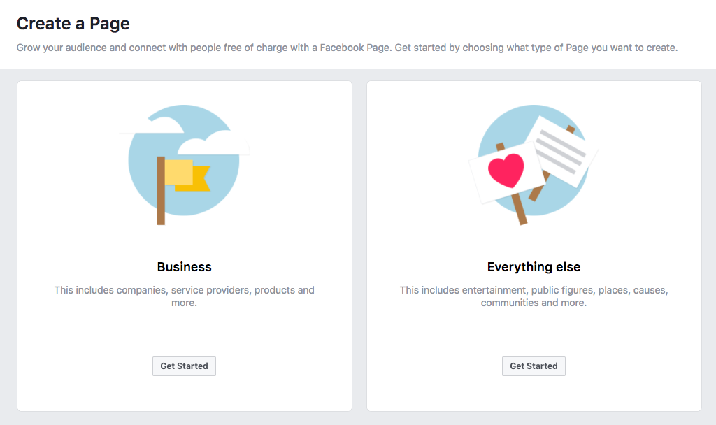 """Creating a Facebook page - choosing between business or """"everything else"""""""