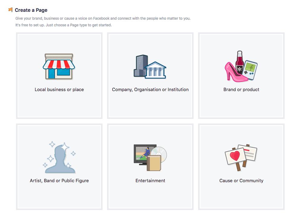 Facebook categories - create a Facebook business page