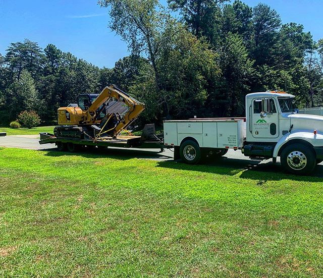 The CAT 308 is mobile! Got the Pete 336 service truck working on a Sunday. Call us for your excavation or farm services projects.
