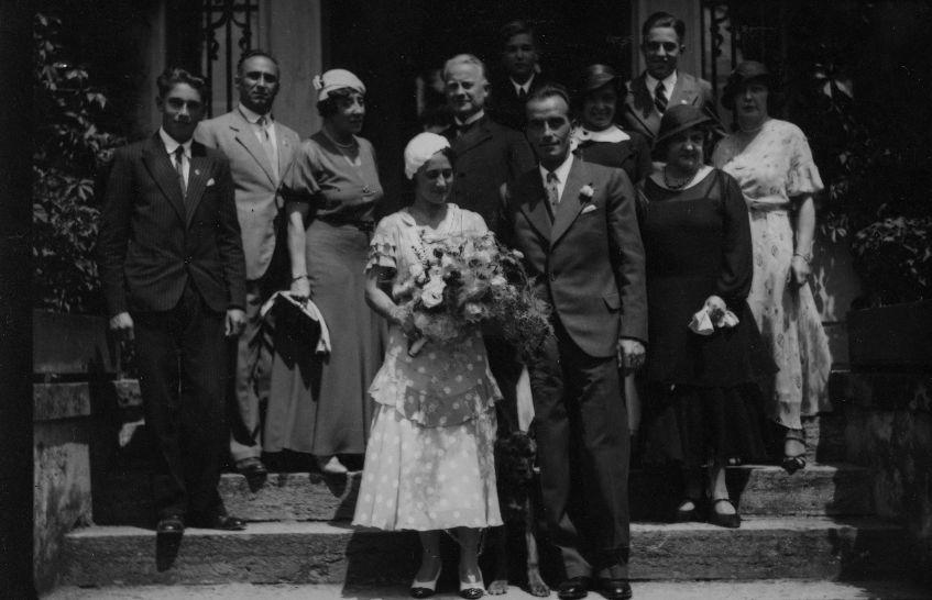 Hochzeit Gladys und Josef Dittrich 1933 links vom Paar: Kurt, Rudolf und Stefanie Kastner, dritter von rechts Harry Kastner zur Verfügung gestellt von Familie Dittrich