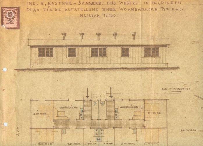 Der Mangel an geeignetem Wohnraum für die Arbeiterfamilien war nach dem Zweiten Weltkrieg besonders hoch. Rudolf Kastner kaufte mehrere ehemalige RAD (Reichsarbeitsdienst)-Baracken und stellte sie am Lunidweg auf.  Plan von 1949 Gemeindearchiv Thüringen