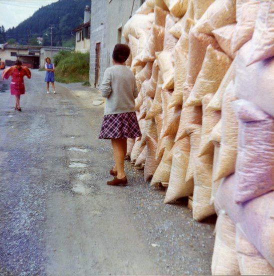 Plastikabfälle der Firma Allplast, die in Teilen der ehemaligen Textilfabrik 1970-1980 Isolierschalen für das Baugewerbe produzierte.  Foto Mitte der 1970er-Jahre Gemeindearchiv Thüringen
