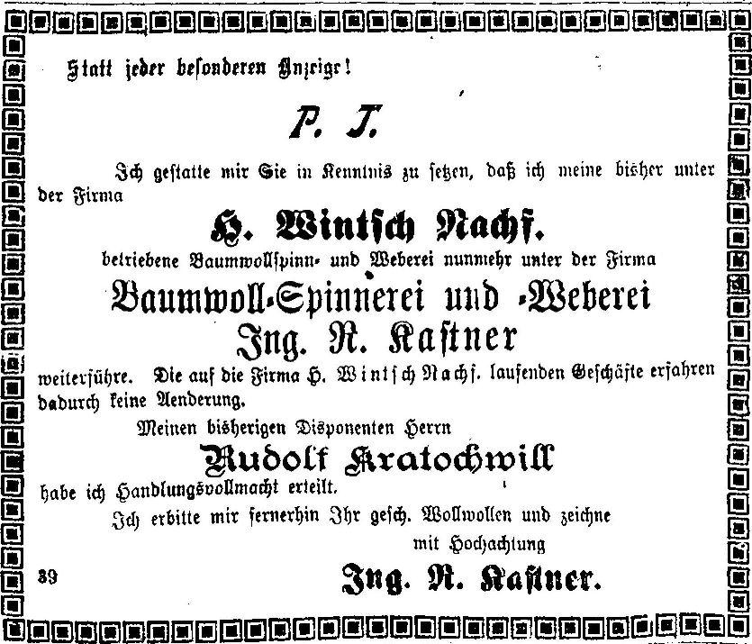 Bekanntgabe der Firmenumbenennung von Wintsch auf Kastner in der Vorarlberger Landeszeitung, 1919.