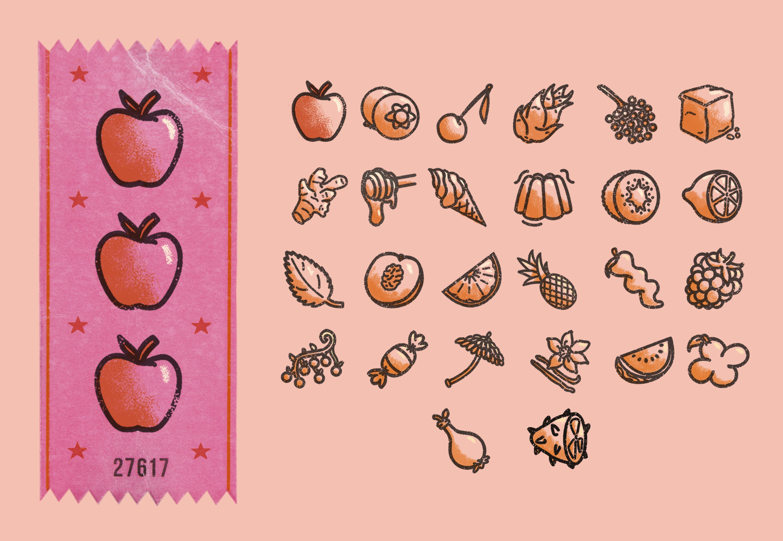 Icons for the Fruit Machine Ticket at the Great Flavour Fairground