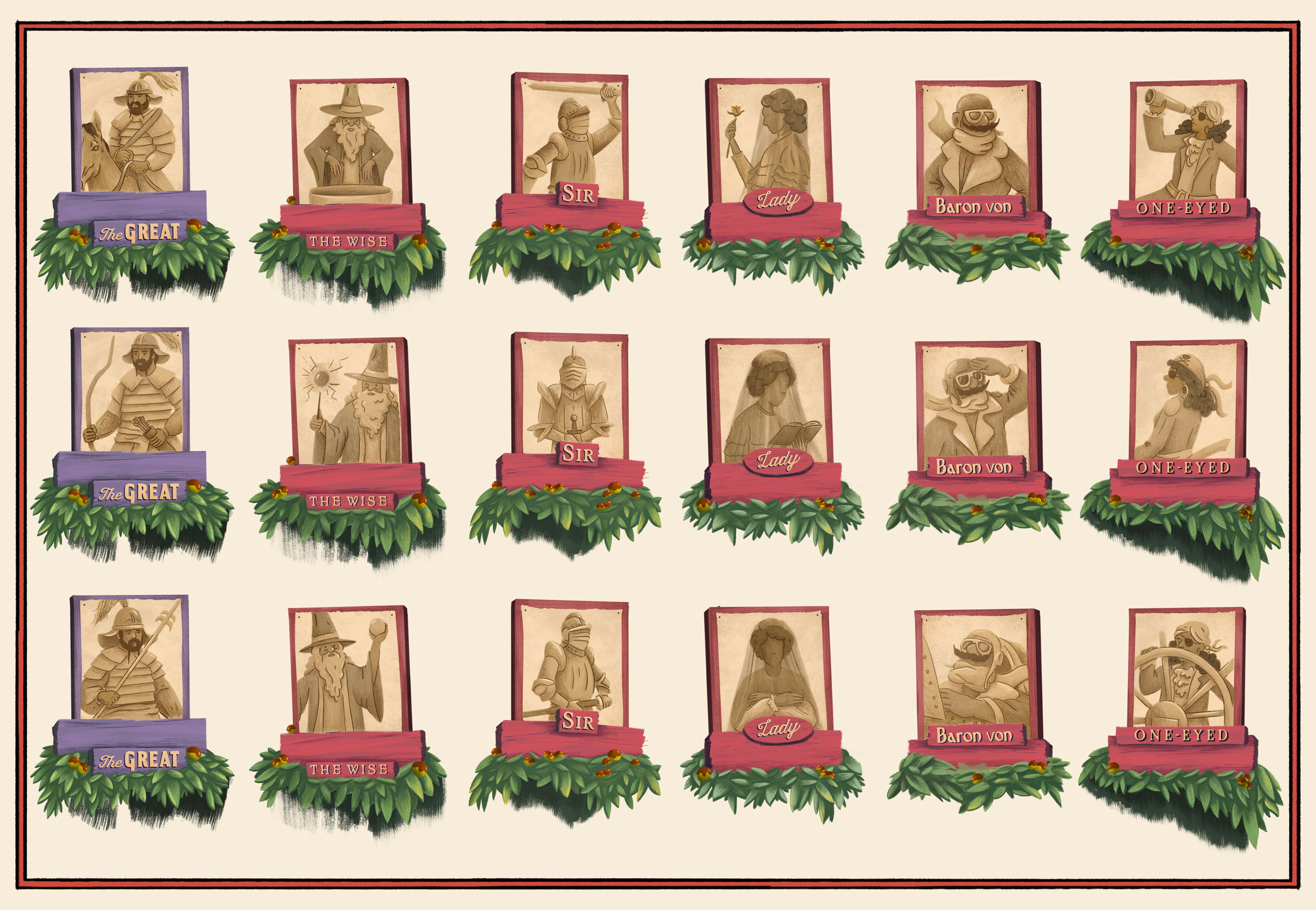 Character portraits for the Family Tree in the Toffee Apple Orchard
