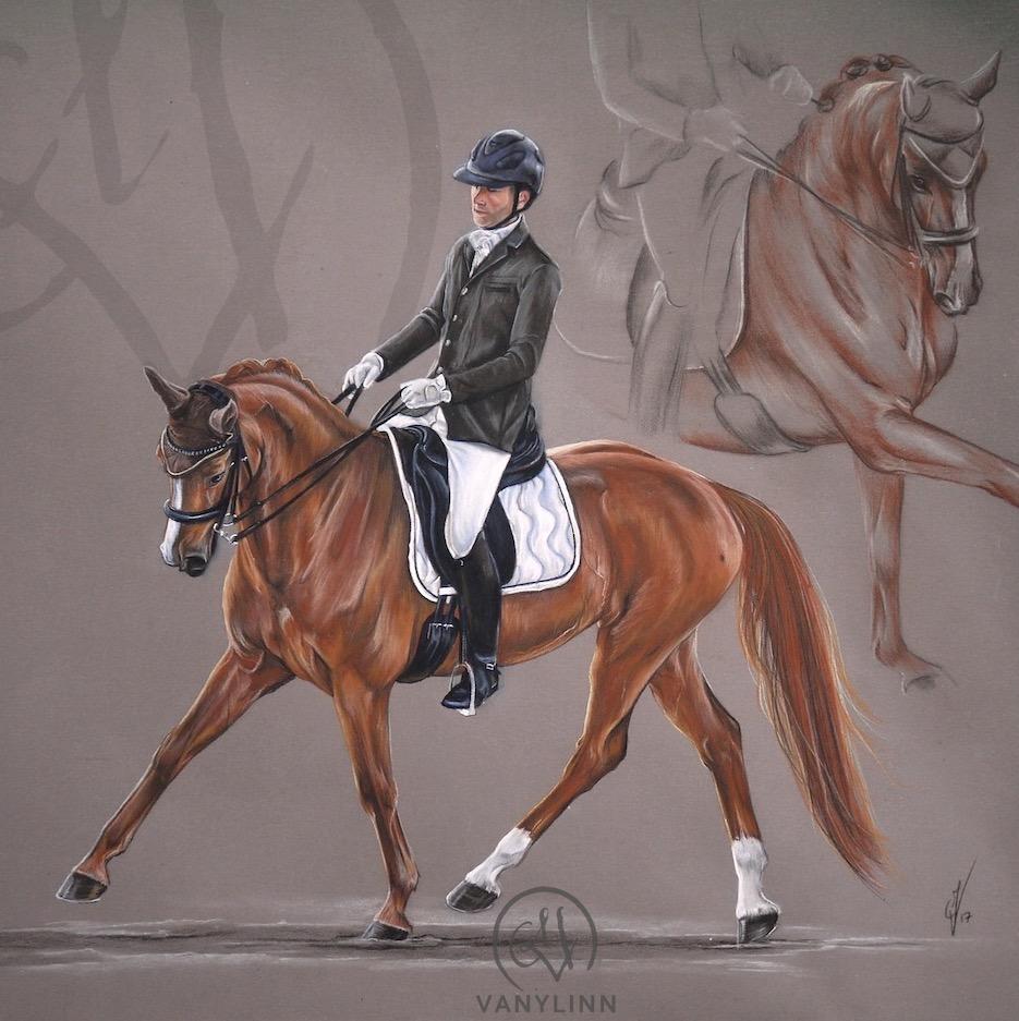 Juriana dressage horse composition pastel realistic.JPG