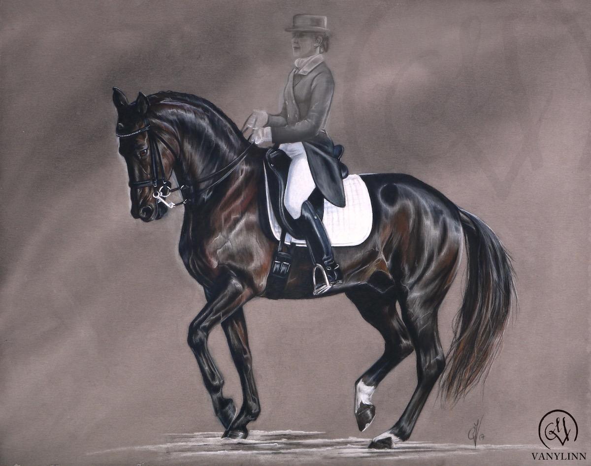 Doniro dressage horse pastel realistic.JPG