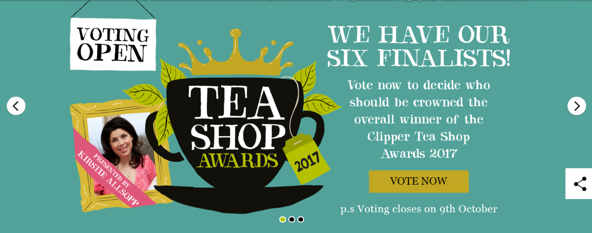 Freelance copywriting for the Clipper Tea Shop Awards 2017