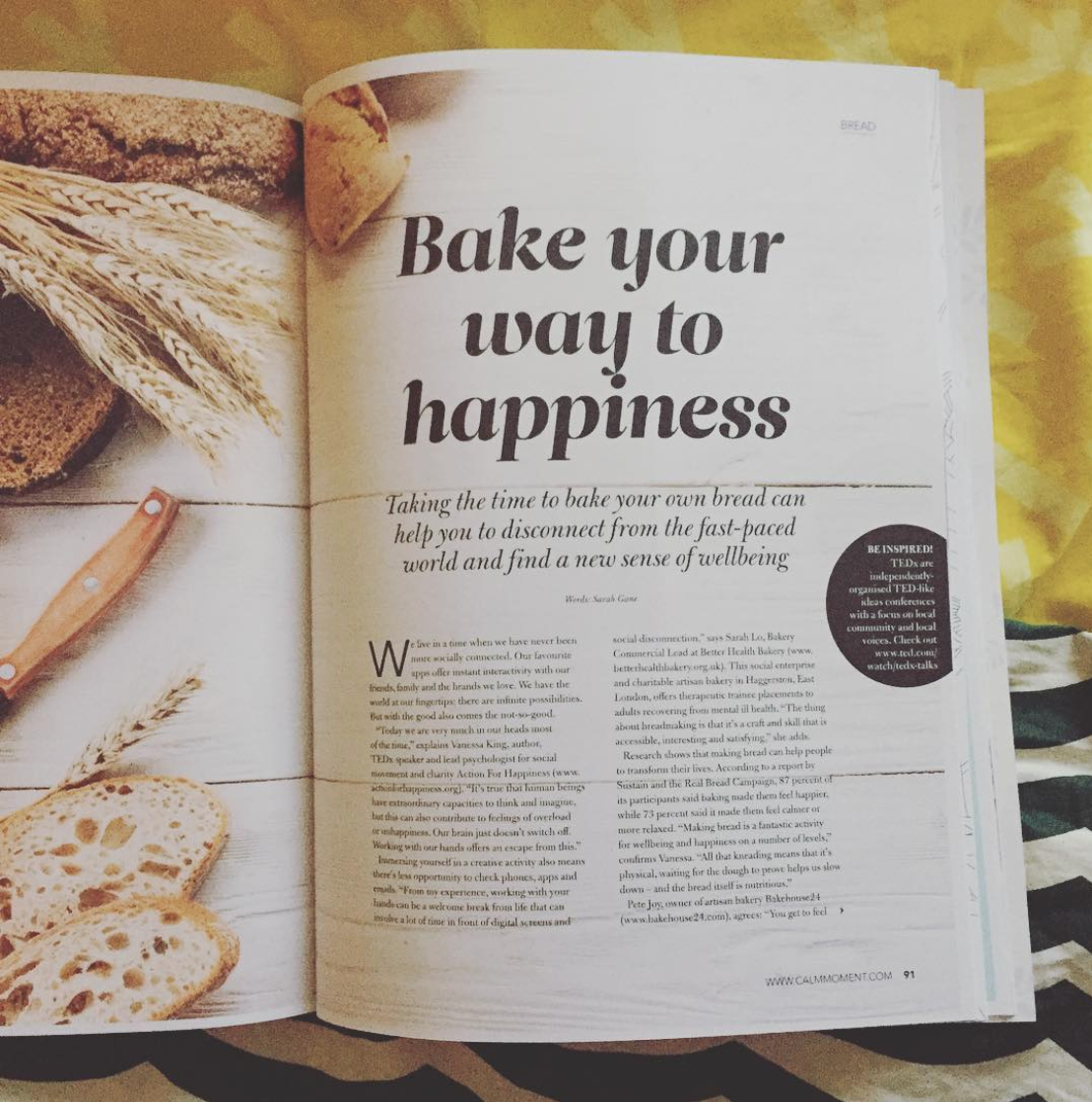 In-depth feature for In The Moment magazine: How baking bread can make you happy