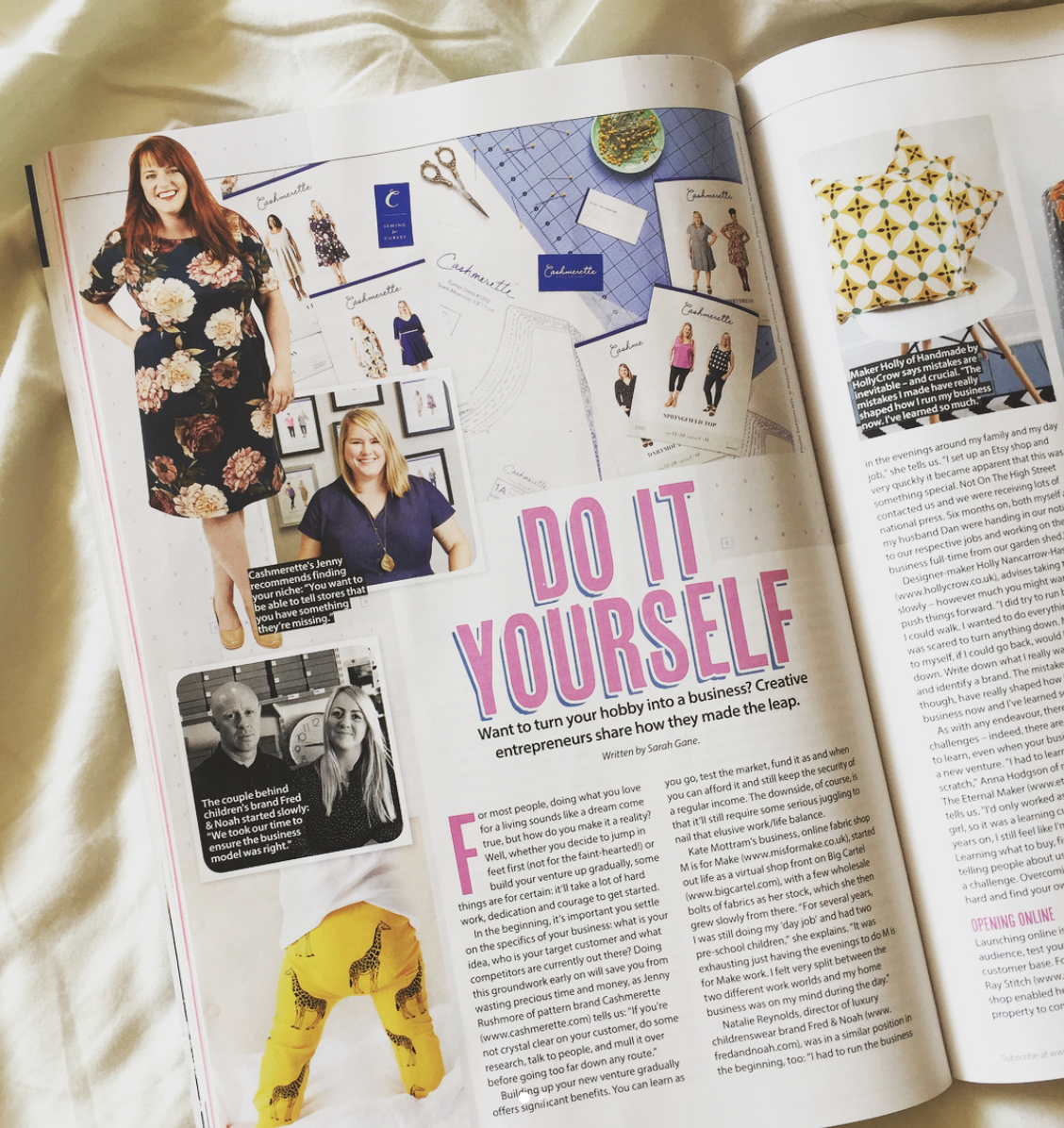 Creative business feature for Simply Sewing magazine. Featuring interviews with the founder of Cashmerette patterns, director of independent kids' clothing brand Fred & Noah, M is for Make, founders of NYC's Purl Soho, Eternal Maker, show director of the Handmade Fair, founder of Crafty Fox Market, owner of Ray Stitch, and lots more