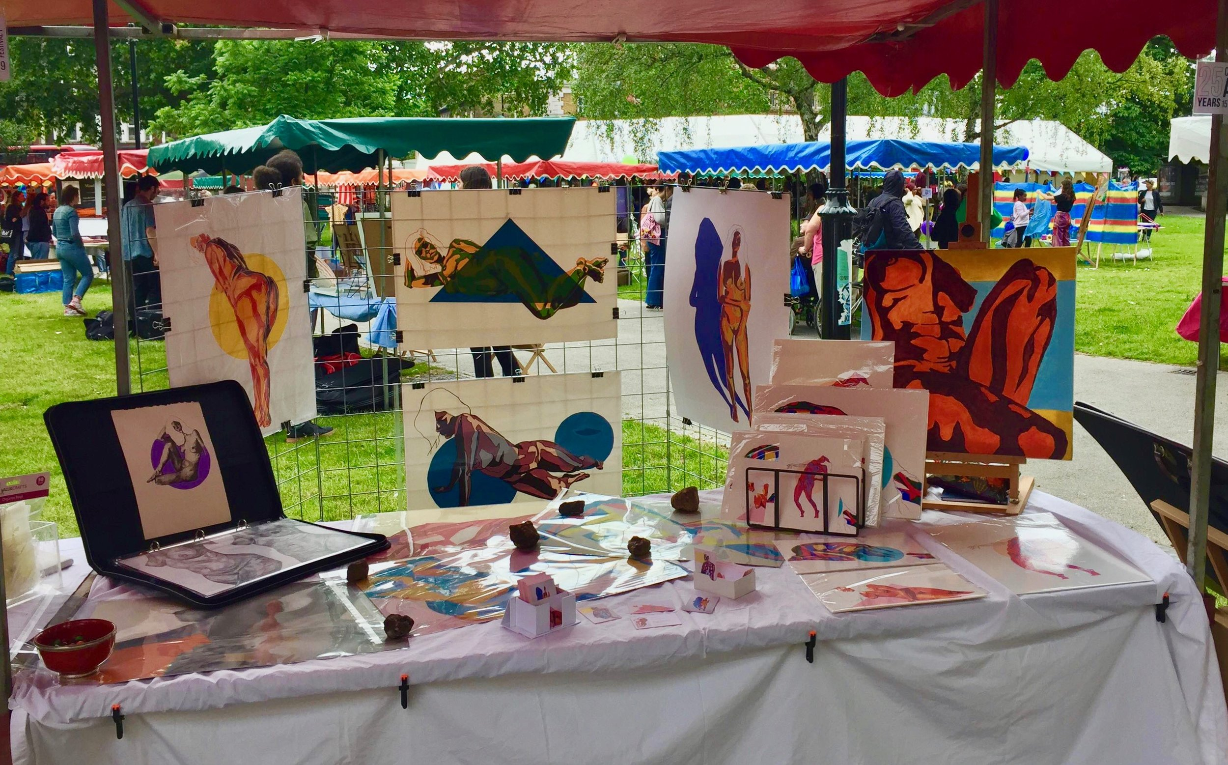 Leila's stall at the Camberwell Arts Market in London. June, 2019.