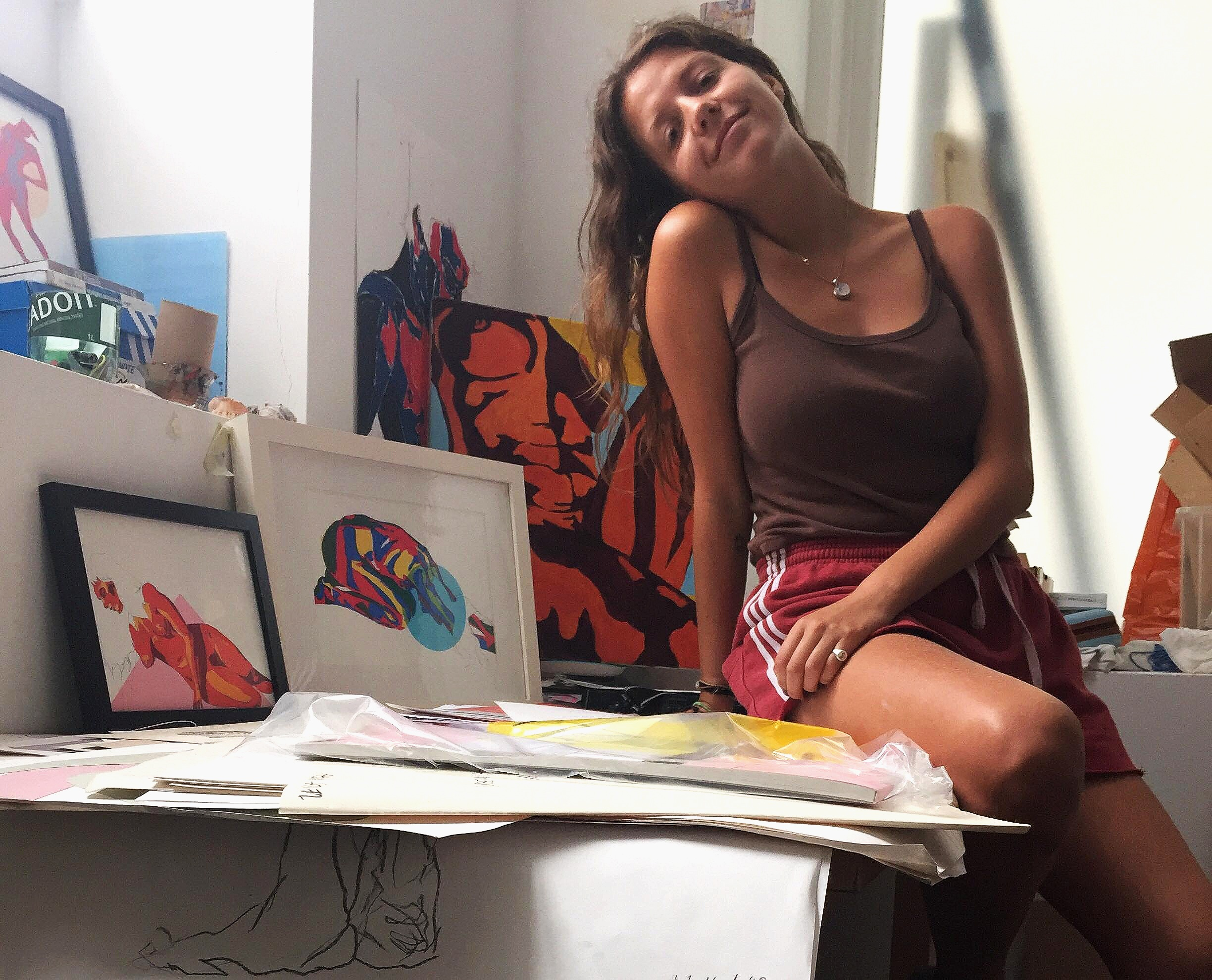 Leila in her studio in South East London, 2019.