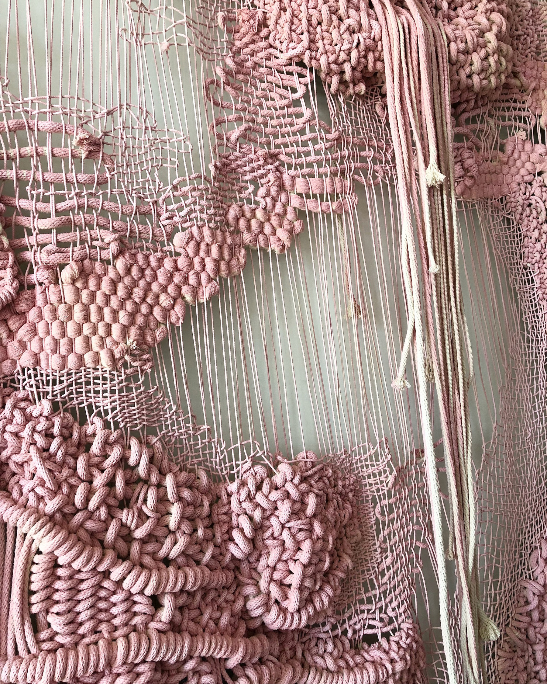 untitled vi {full} naturally nasty, detail  Braided cotton cord, enamel, bronze L9'xW8' (10' bar) 2018
