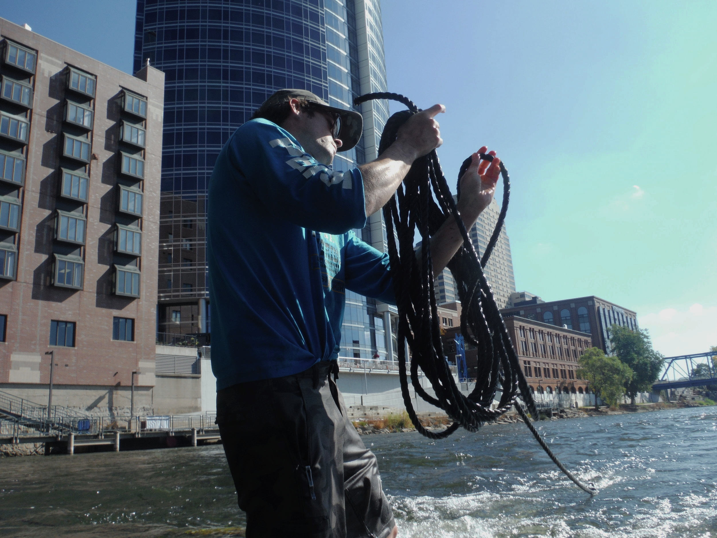 Ryan Spencer Reed, winding up some of the rigging from the installation.