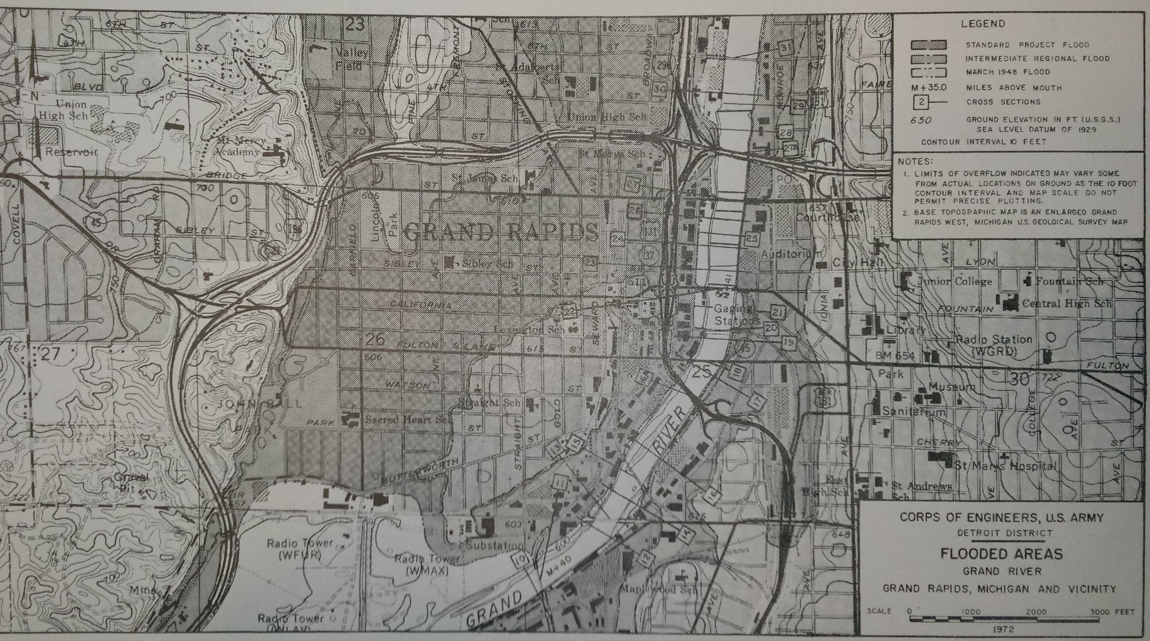 A 1972 floodplain map from the US Army Corp of Engineers showing most of the westside and downtown submerged during the flood of 1948.