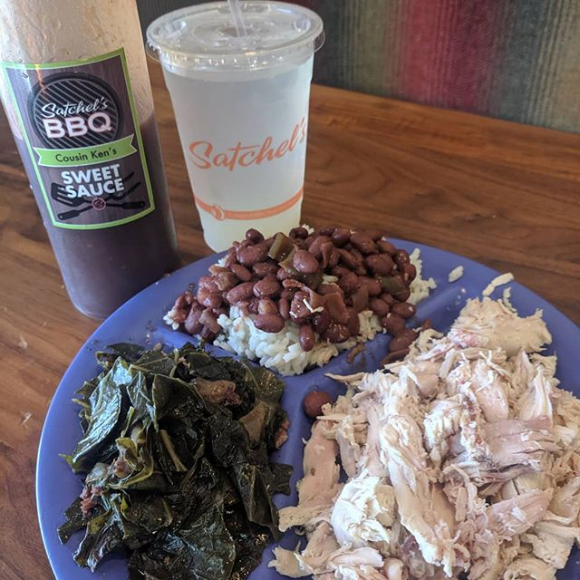 A chicken plate with sides of collards and beans and rice....delicious, healthy and gluten-free!  #glutenfree #healthybbq #bbq #umich #annarbor #satchelsbbq
