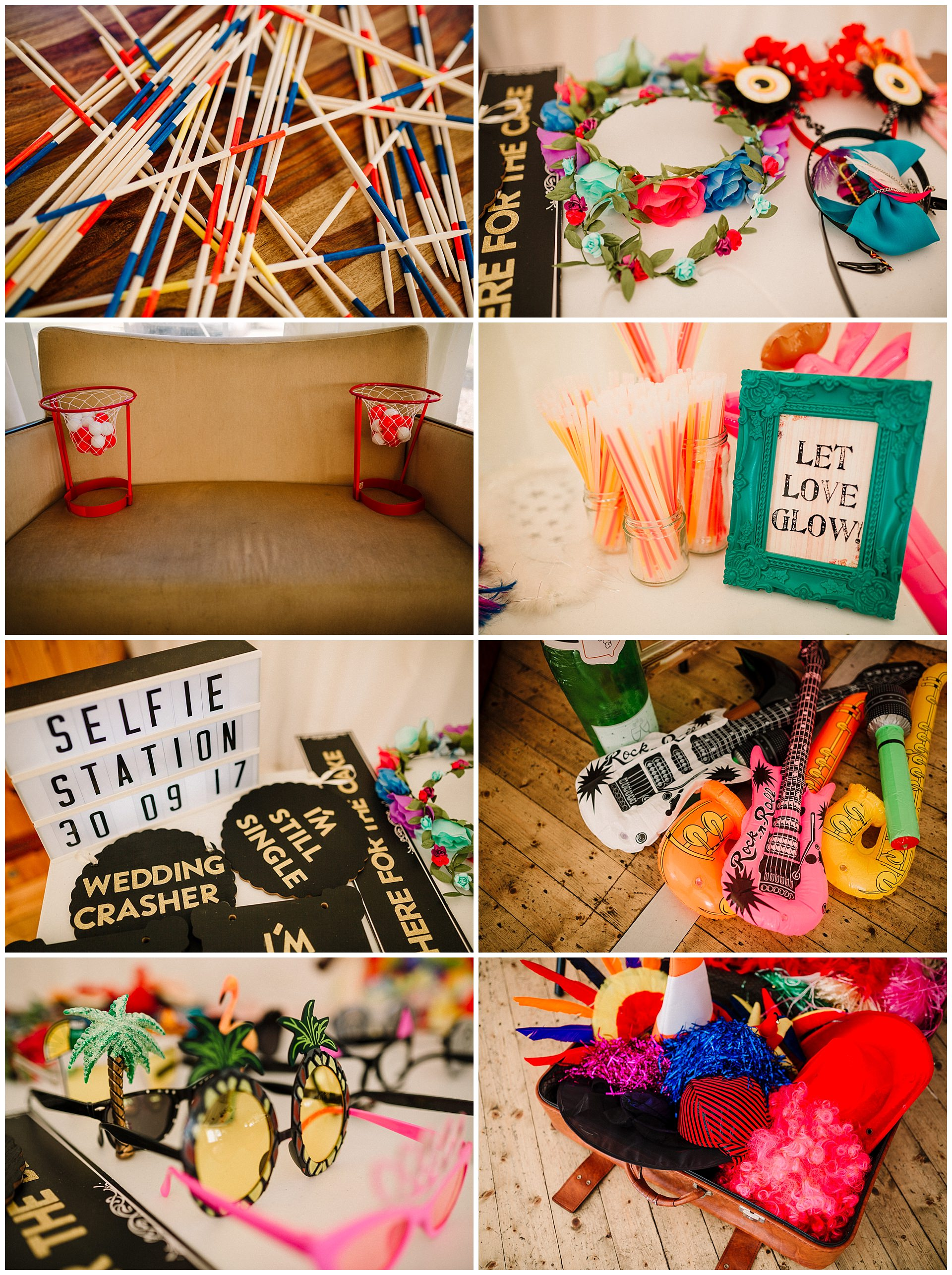 Bright and colourful wedding props and wedding games