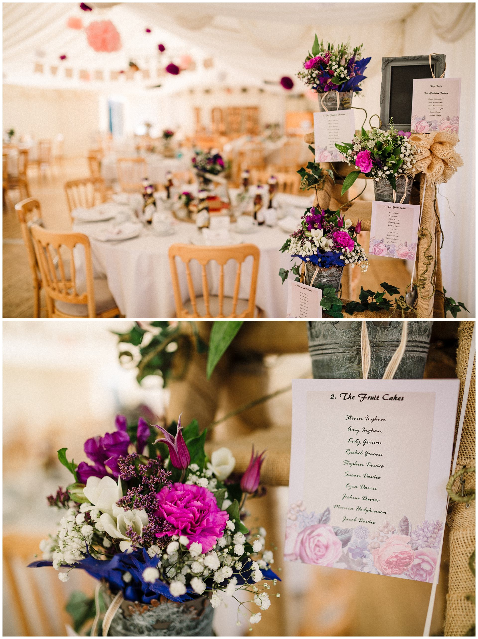 a yorkshire wedding table plan surrounded by flowers