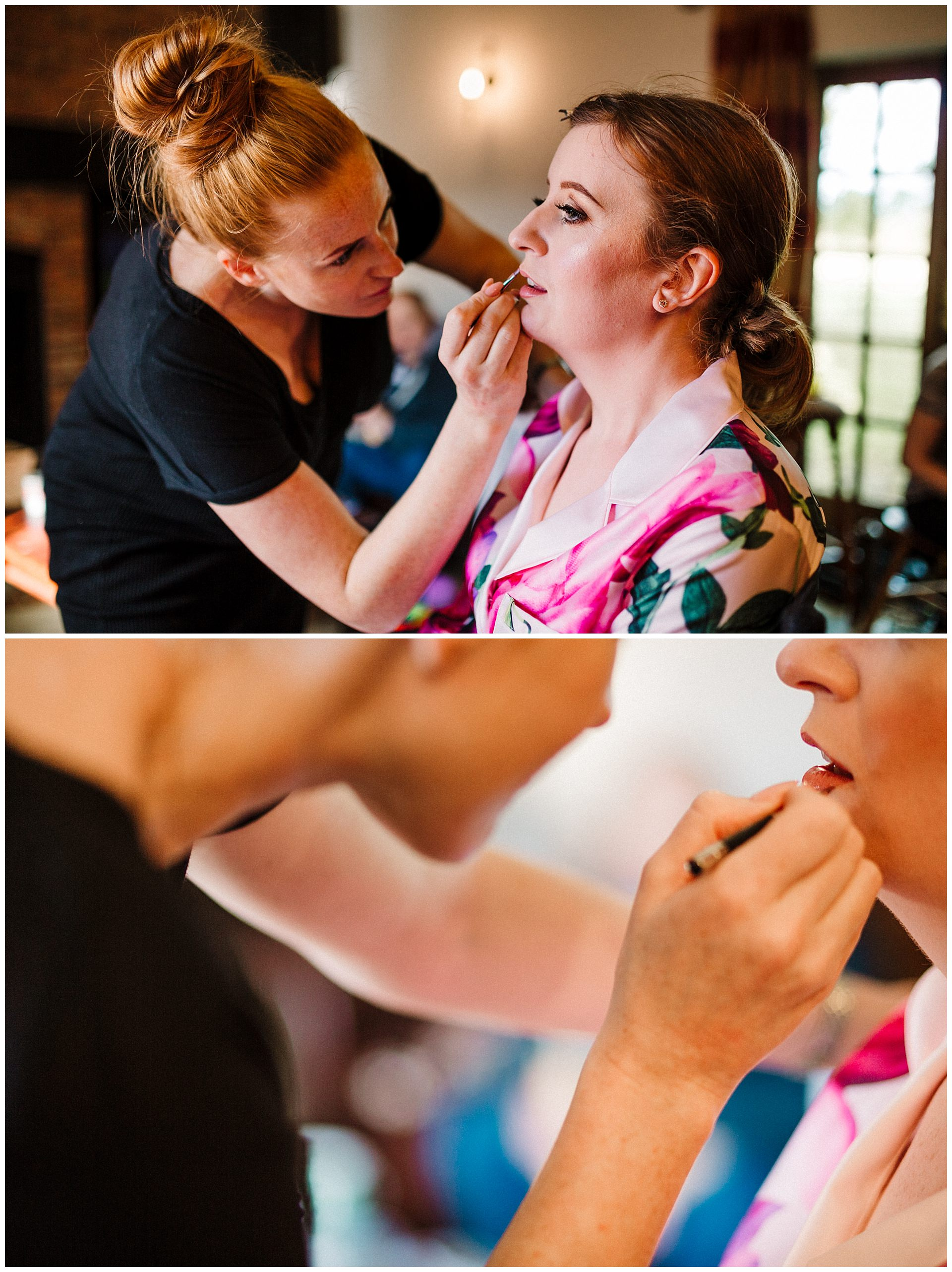 A makeup artist putting lipstick on a bride