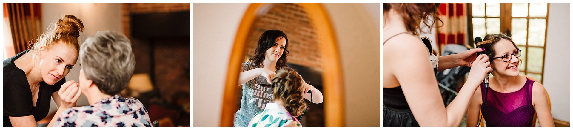A bridal party having their hair and makeup done