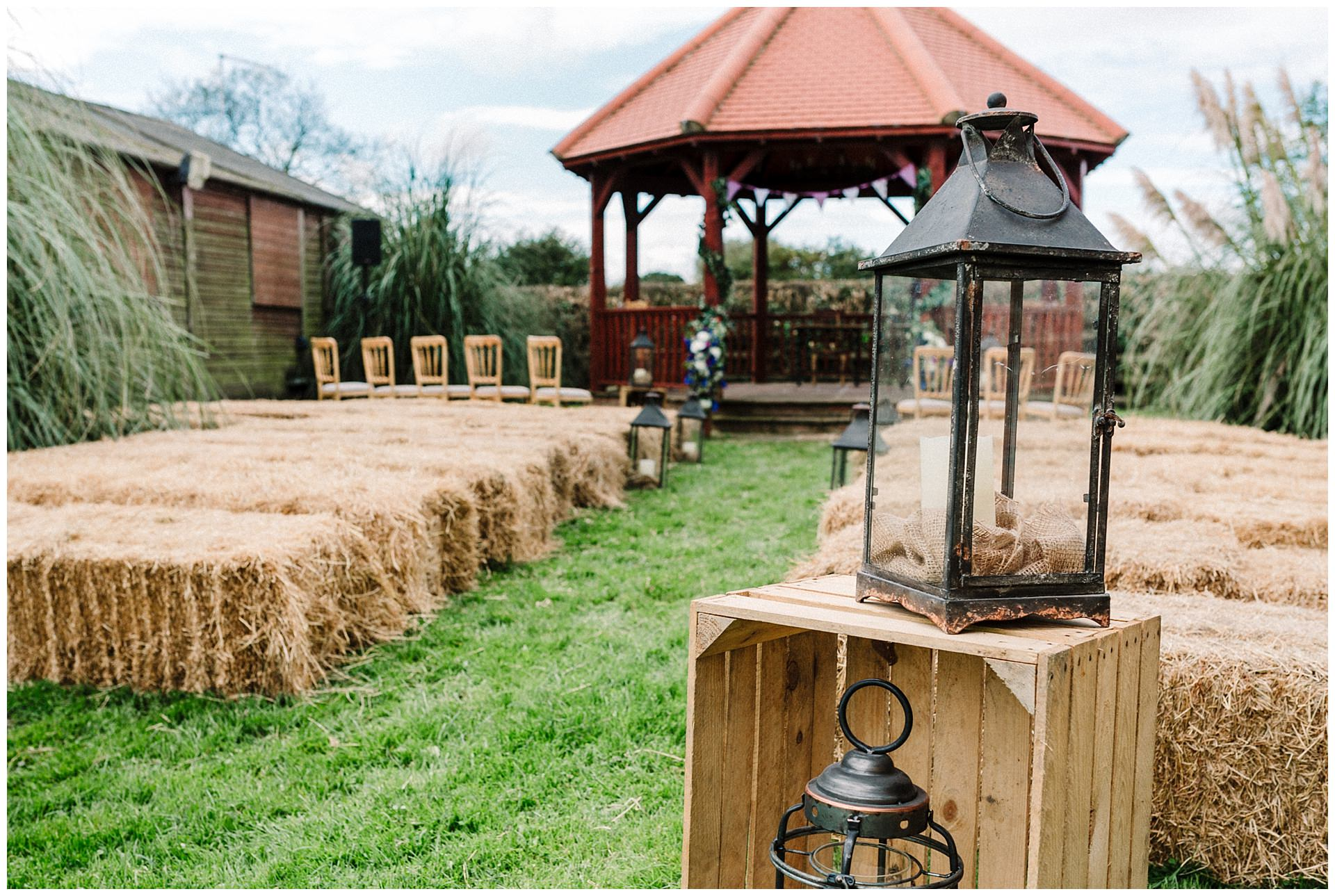 A gazebo and hay bails set up ready for a wedding in Yorkshire