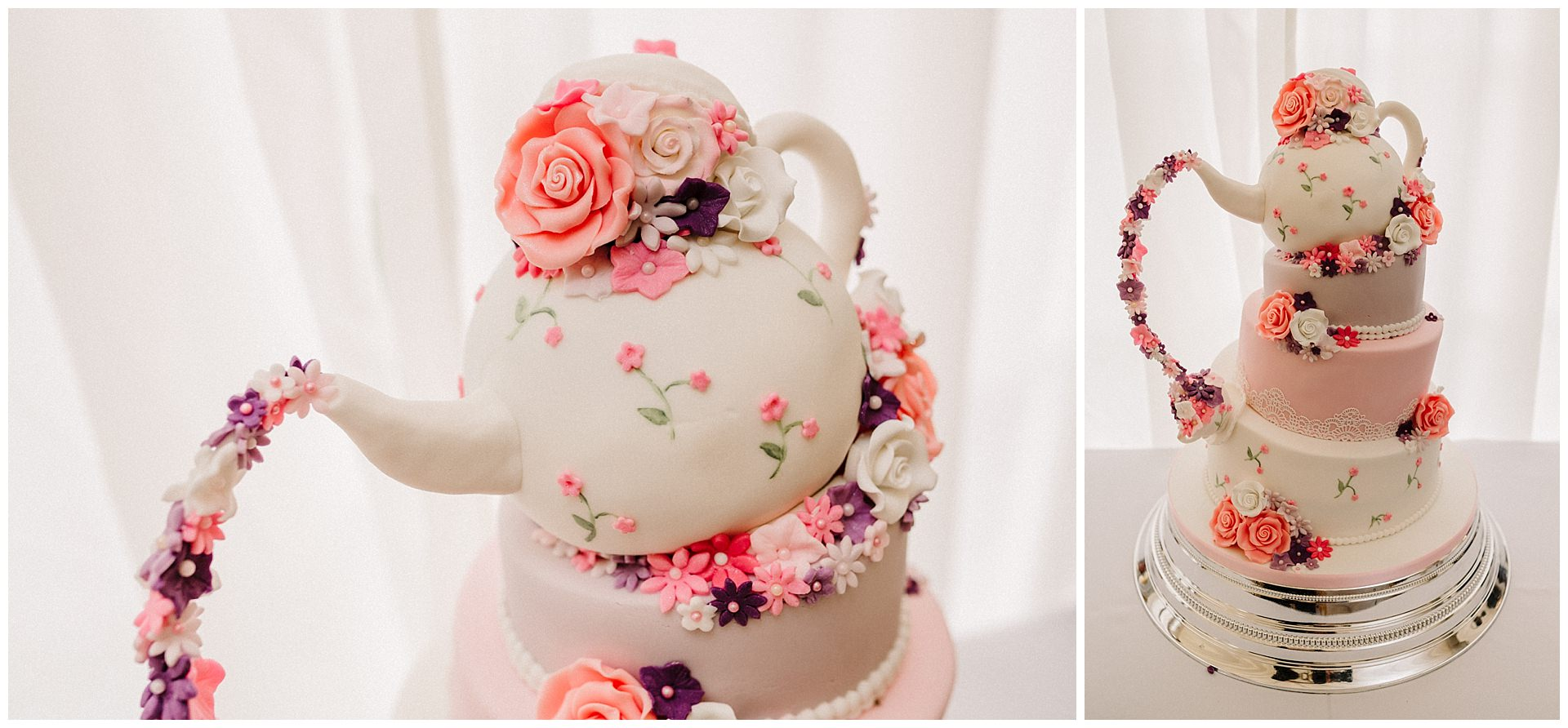 a teapot wedding cake pouring flowers