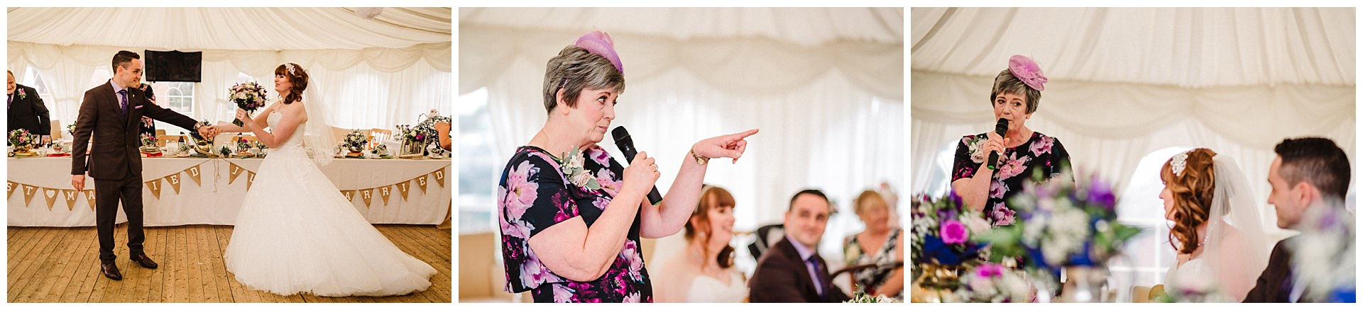 mother of the bride giving a speech at a yorkshire wedding