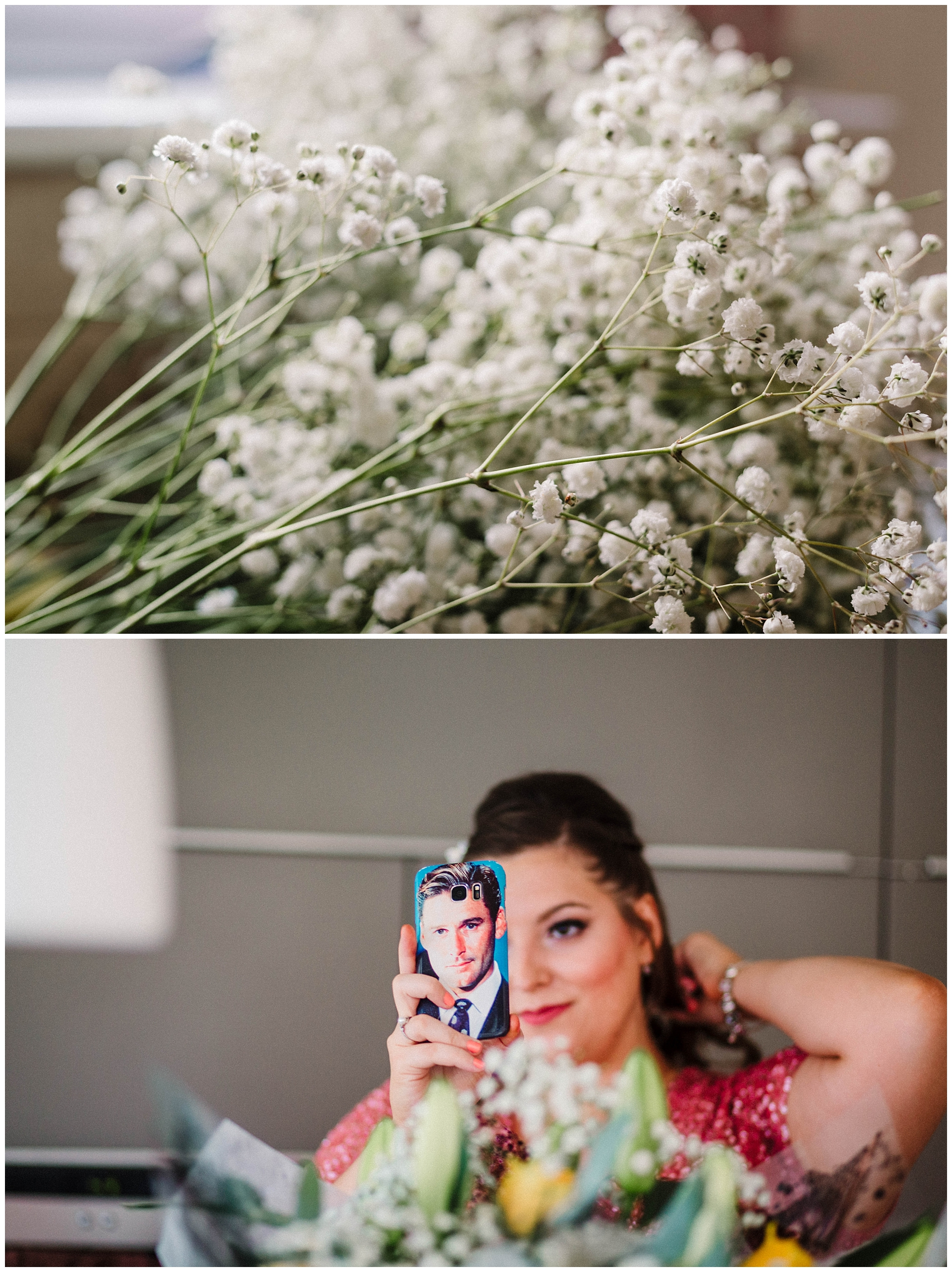 a bridesmaid doing her hair using her mobile as a mirror.jpg
