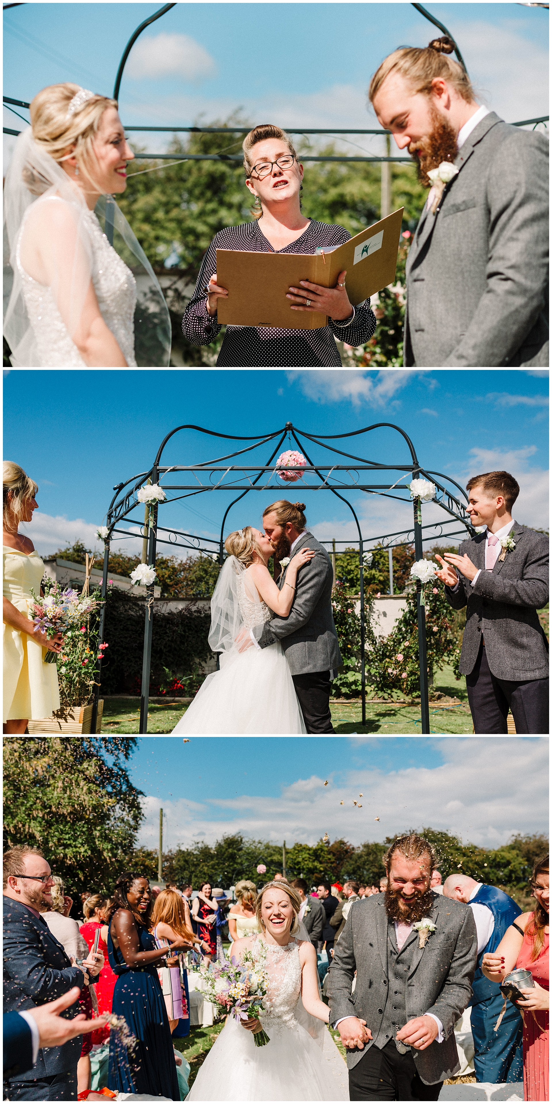 a bride and groom's first kiss at a garden wedding in leeds