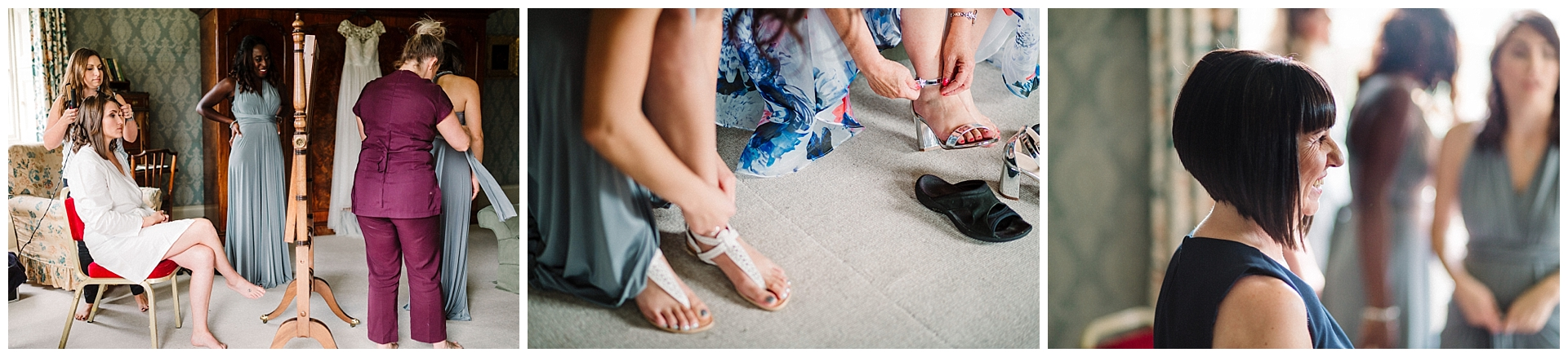 bridal party getting ready in the bedroom at scampston hall