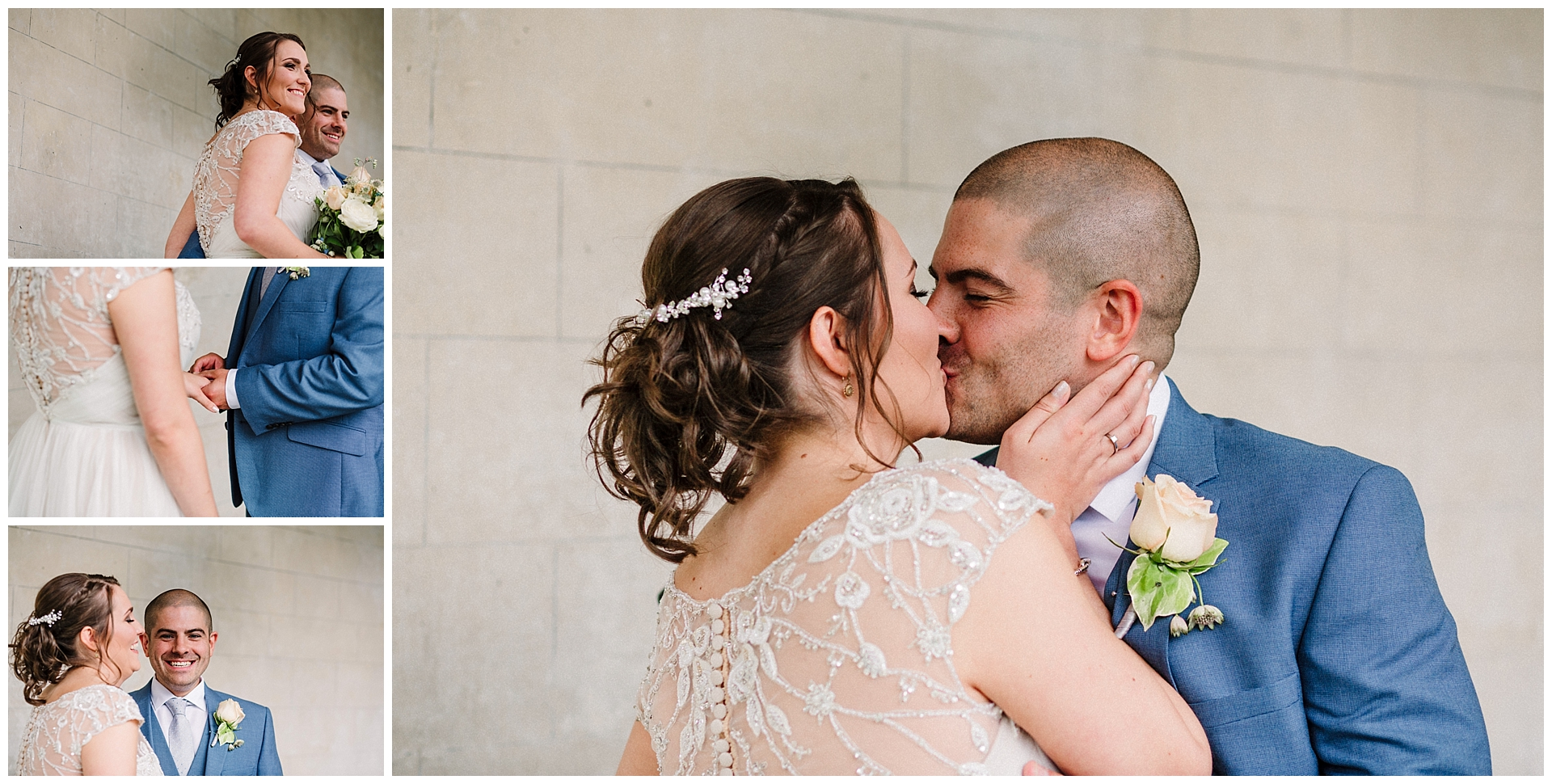a bride and groom share a first kiss at their scampston hall wedding