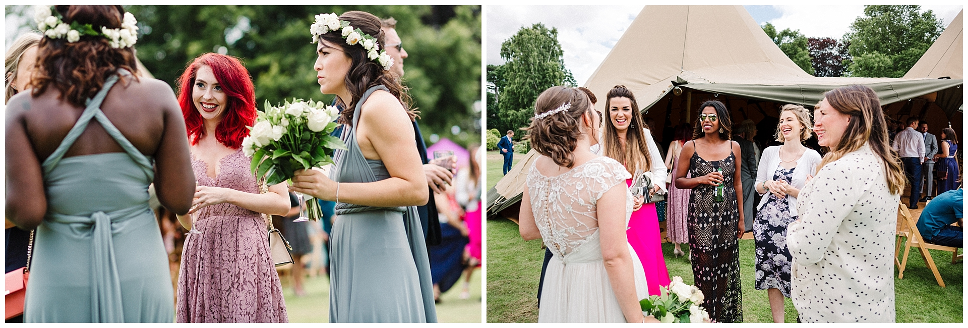 wedding guests talking in the garden at scampston hall