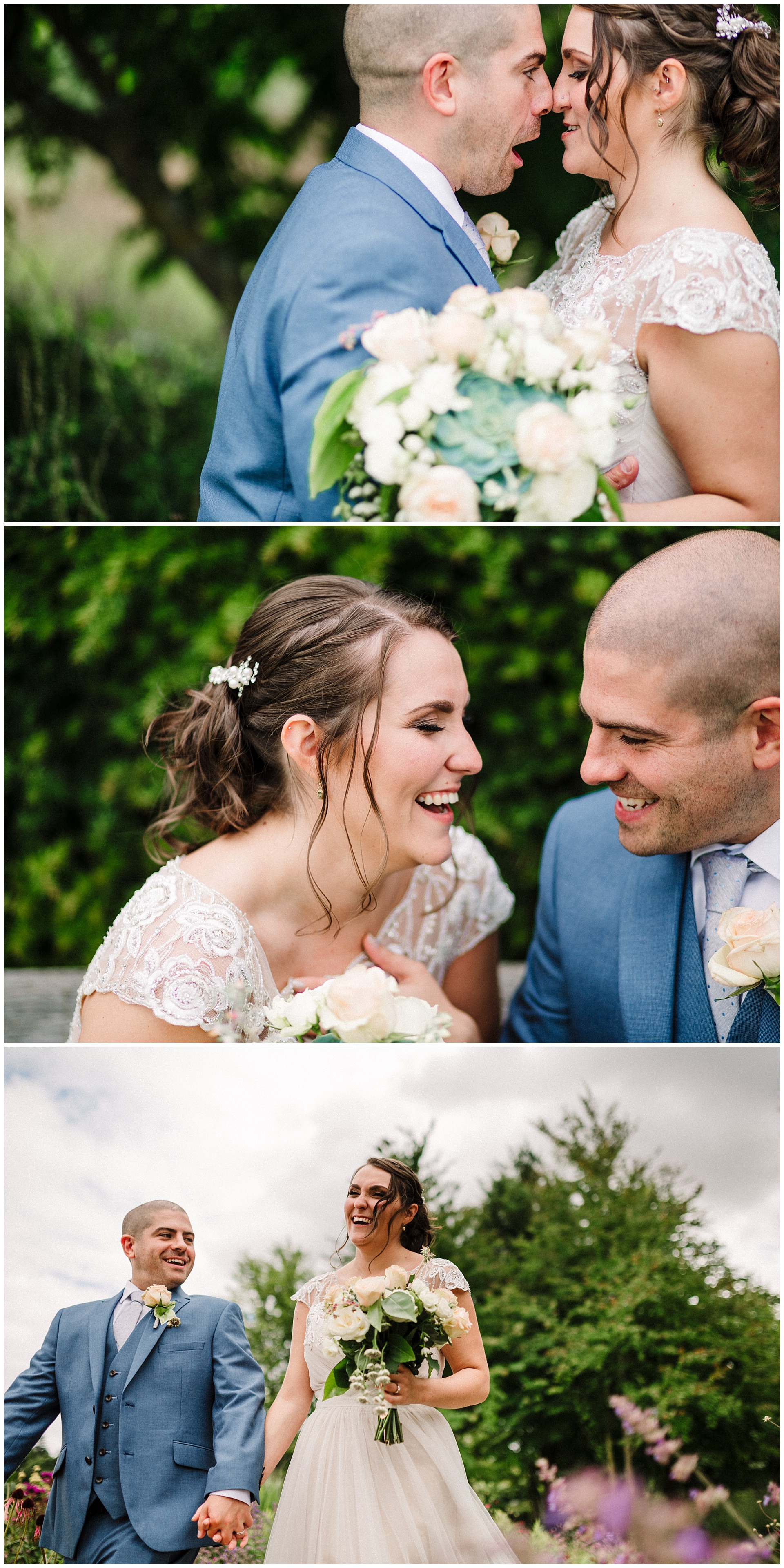 a bride and groom in the gardens at scampston hall